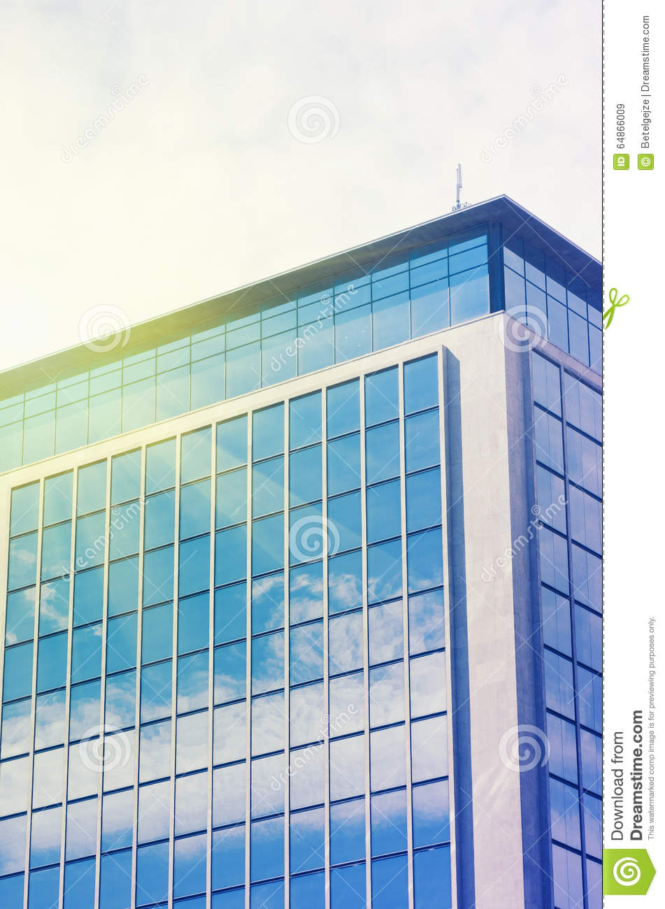 Building Glass Window : Modern business office building with blue glass windows