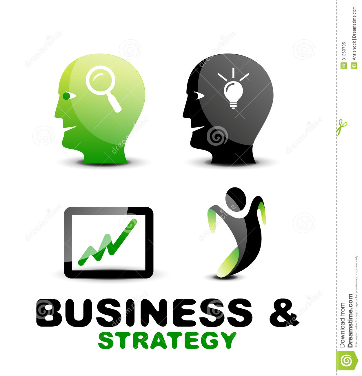 Modern Business And Strategy Icon Set Royalty Free Stock ...