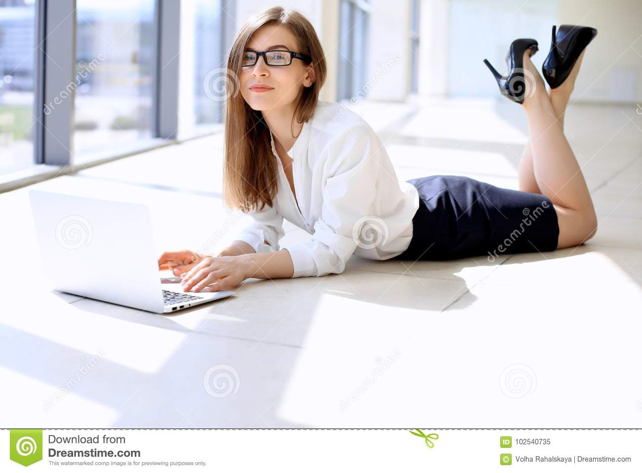 Modern Business Woman Working With Laptop Computer While