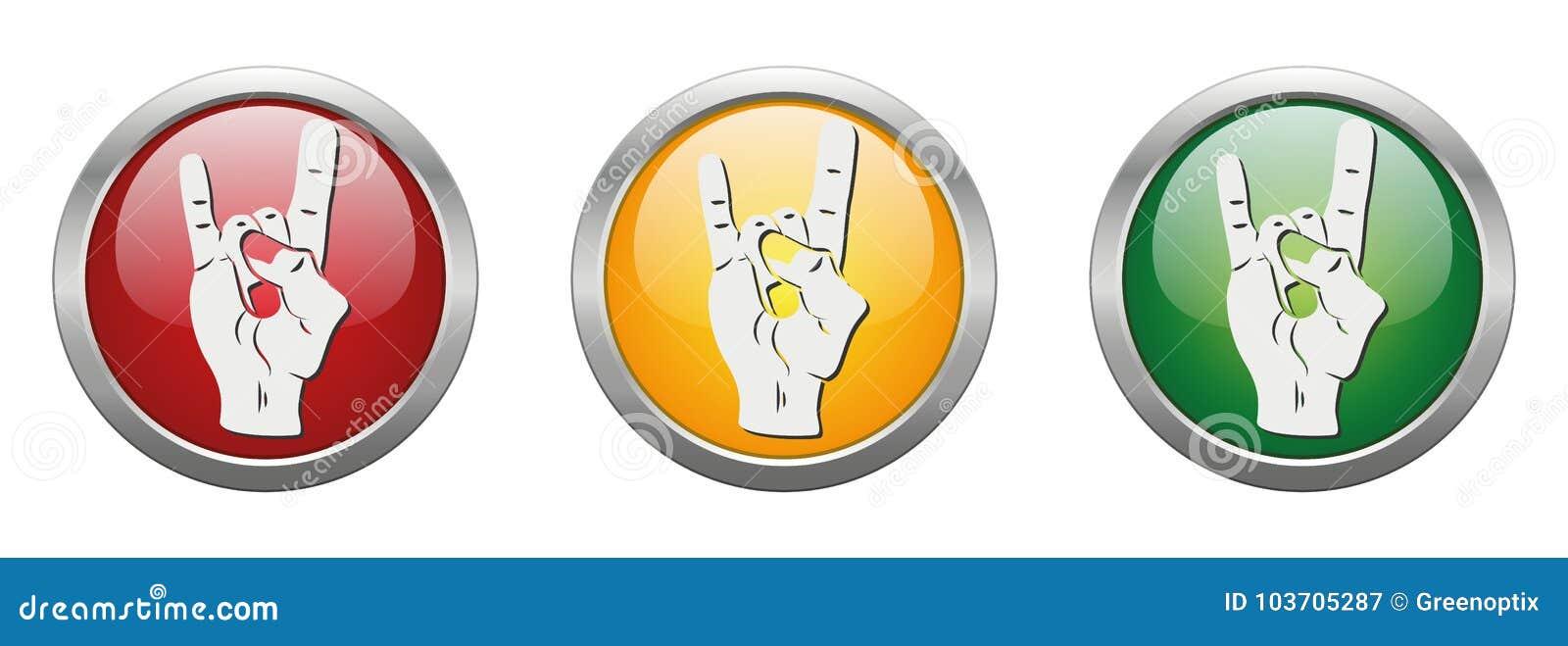 Modern Button Vector Devil Horns Stock Vector Illustration Of