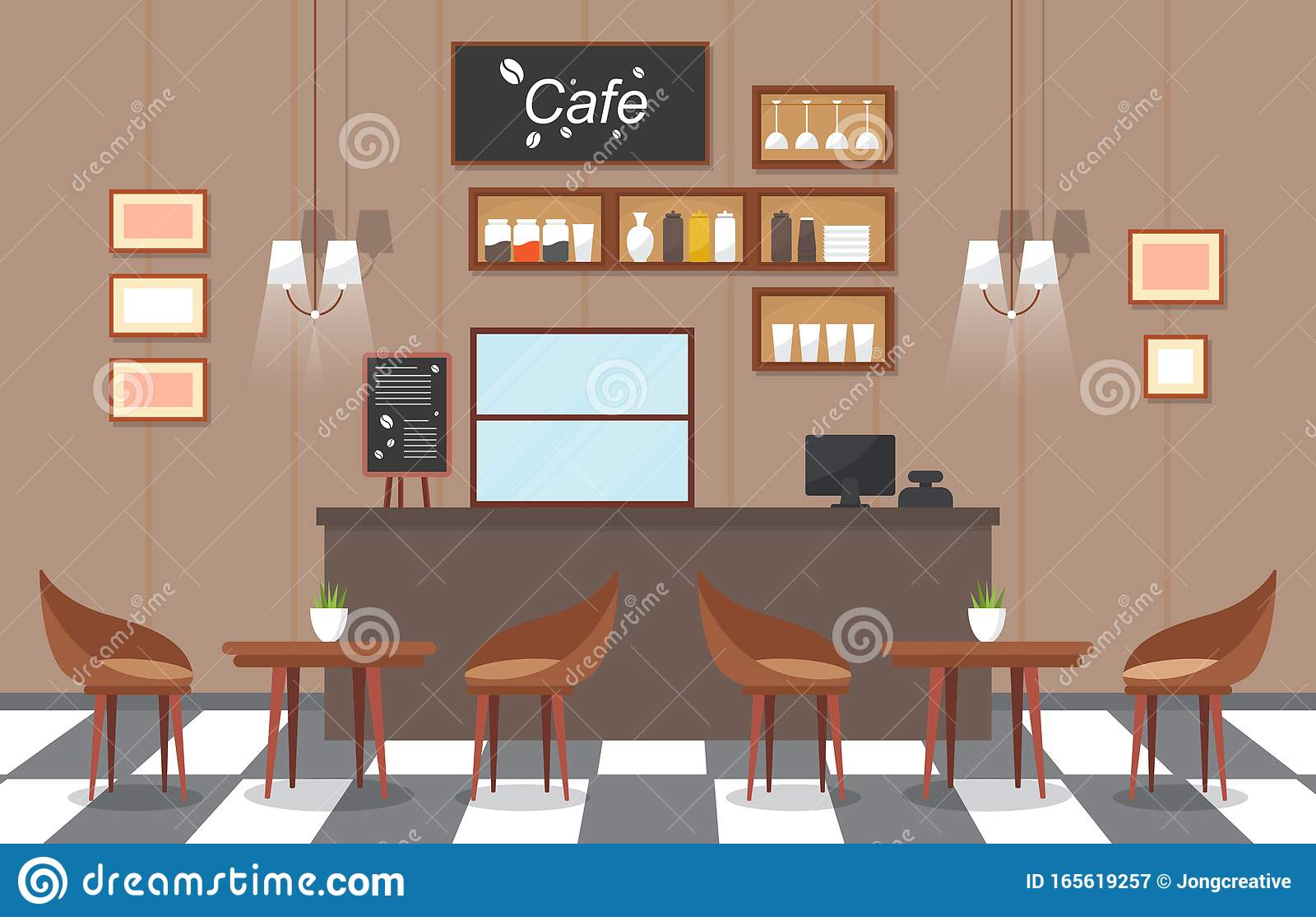 Modern Cafe Coffee Shop Interior Furniture Restaurant Flat Design Illustration Stock Vector Illustration Of Coffee House 165619257