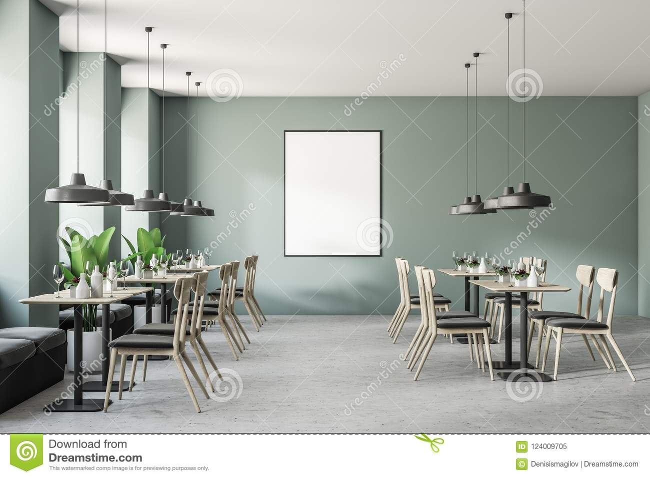 Green modern coffee shop interior poster stock illustration