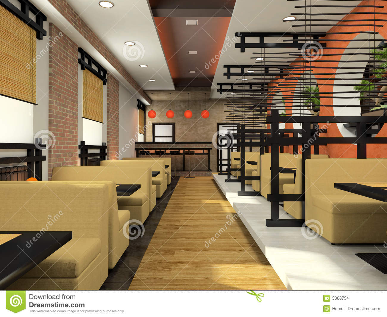 Japanese Style Office With Modern Cafe In Japanese Style Cafe In Style Stock Illustration Of