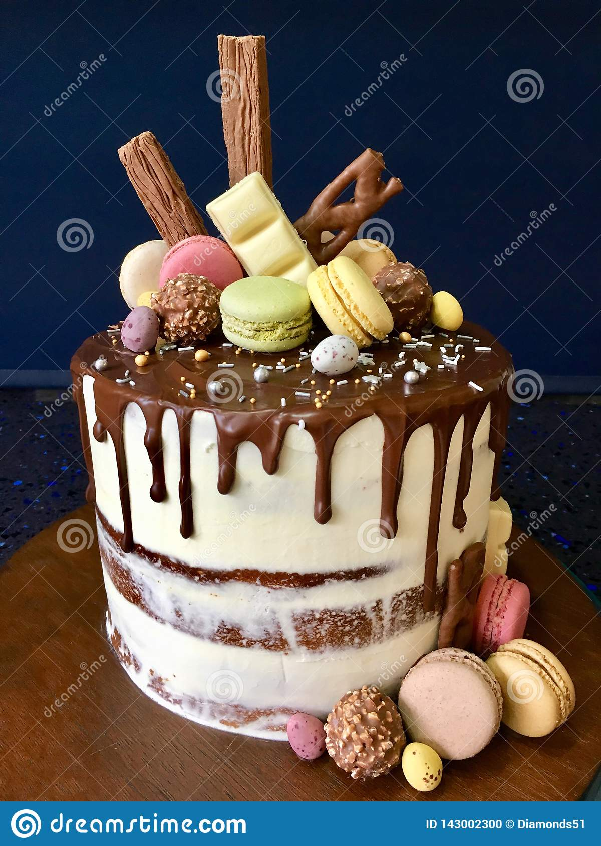 Marvelous Modern Cake Design With Macaroon Topping Stock Photo Image Of Funny Birthday Cards Online Inifodamsfinfo