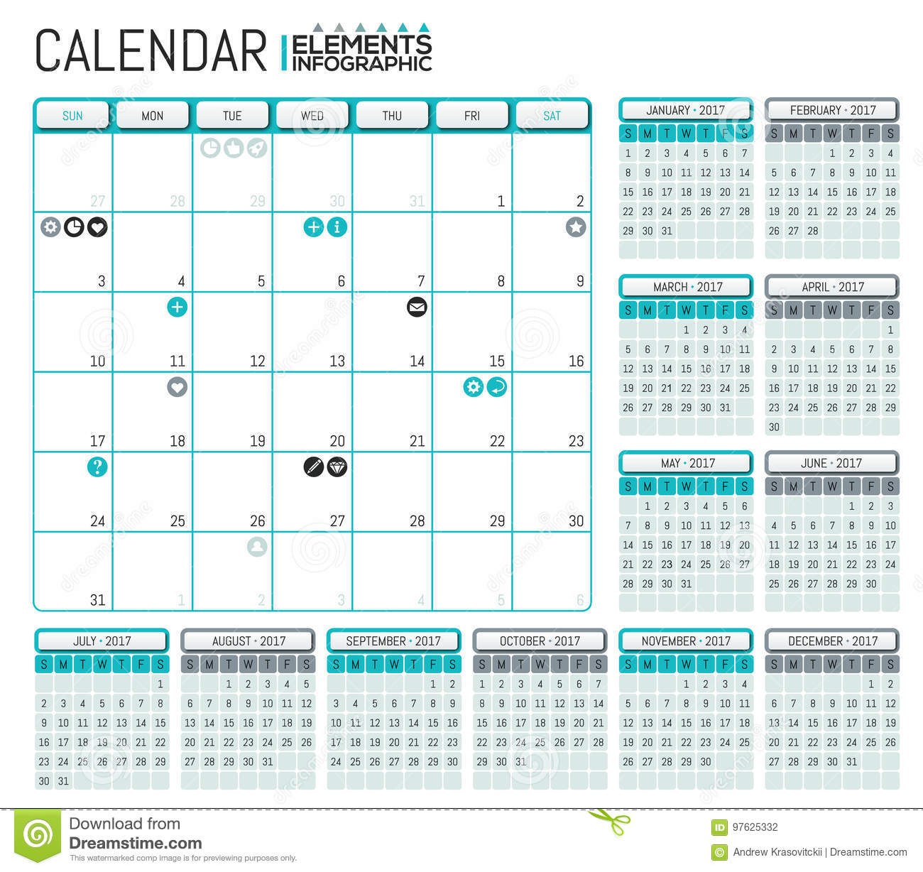 Modern Calendar 2017 Template Design With Place For Notes Stock