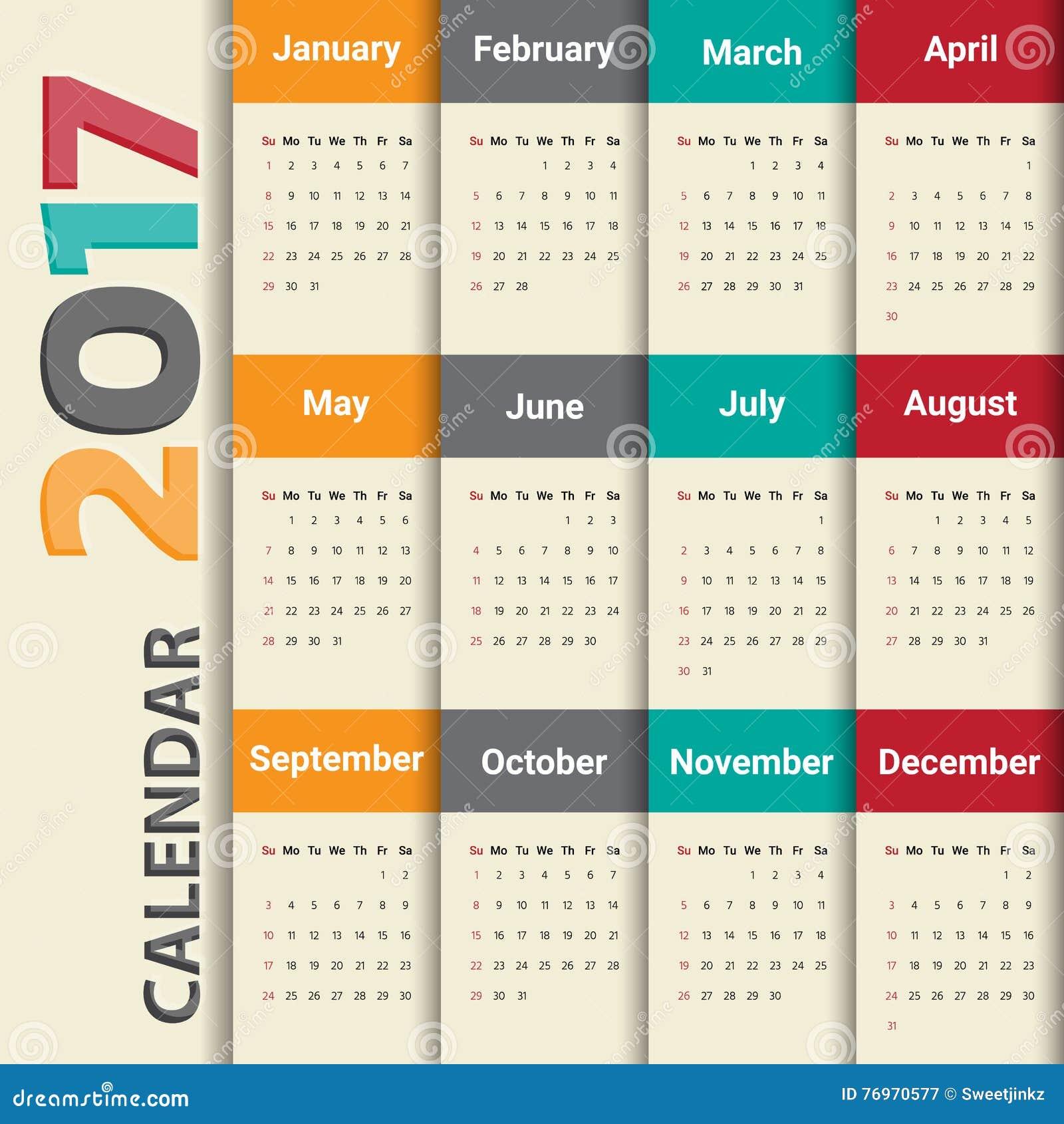2017 Modern Calendar Template .Vector/illustration. Stock Vector ...