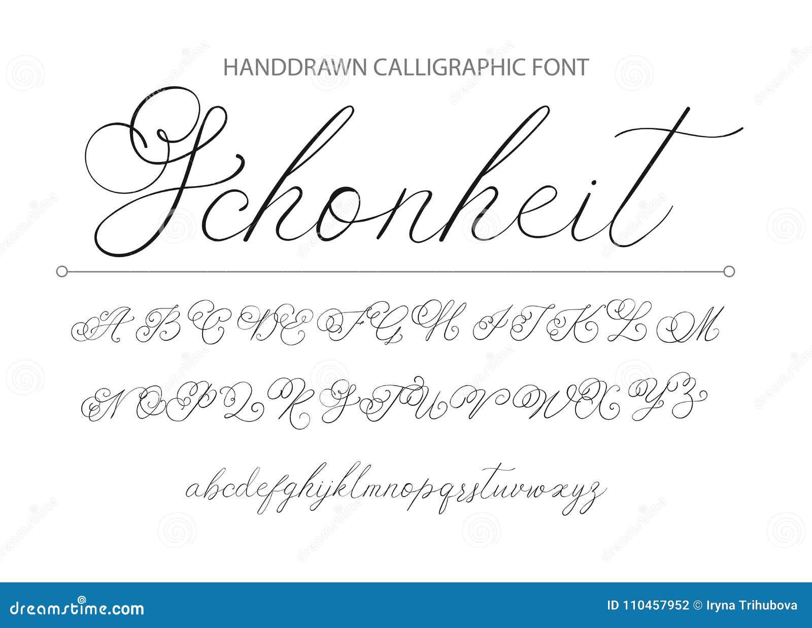 Modern calligraphic stilsort Borste målade bokstäver