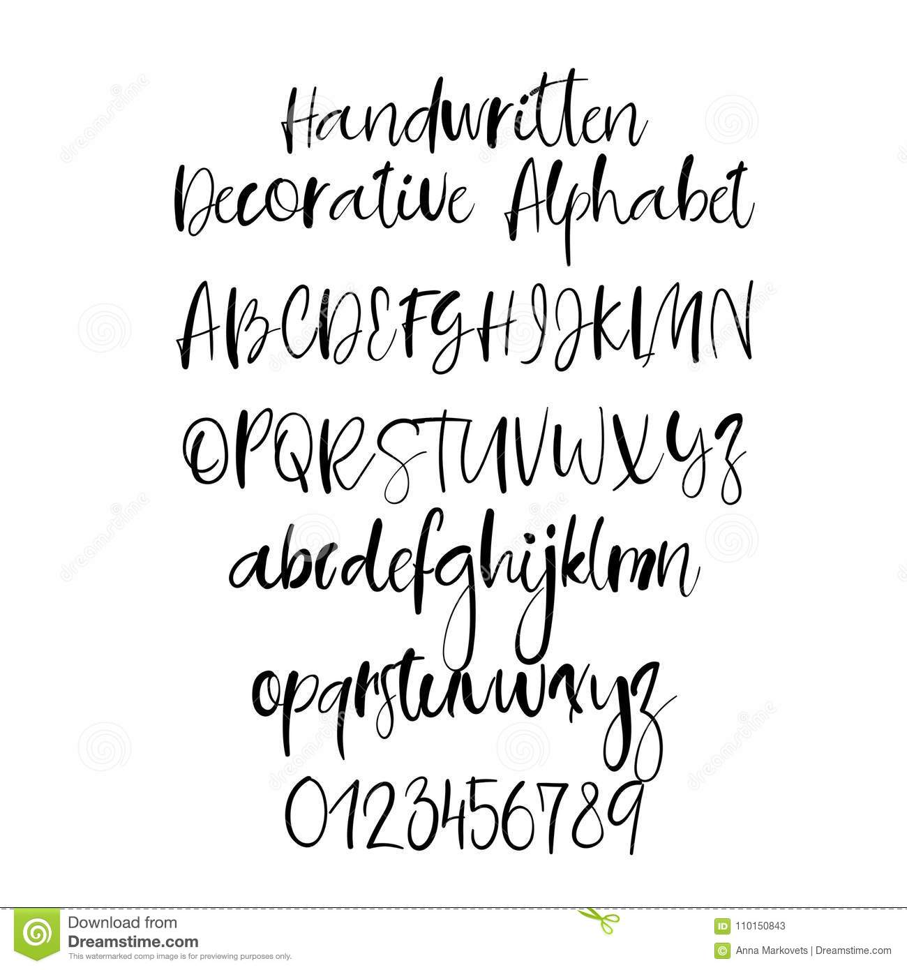 Download Decorative Hand Drawn Alphabet Handwritten Brush Font Modern Calligraphy ABC Stock Vector
