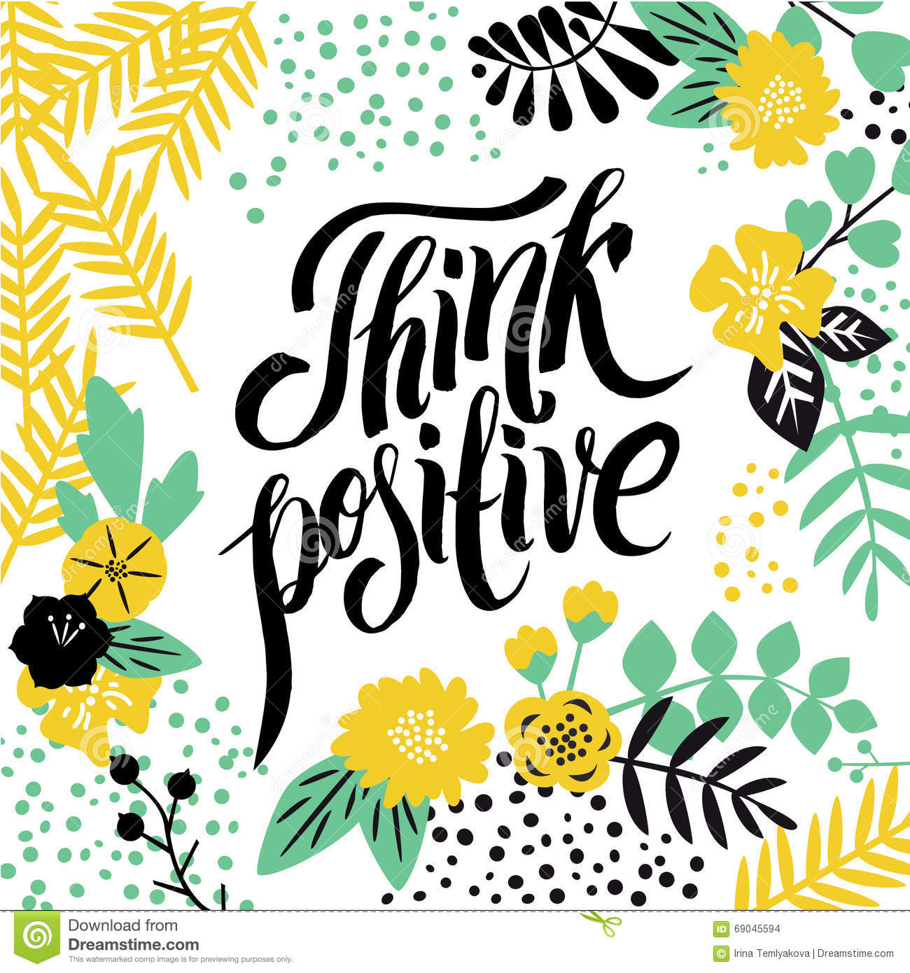 Typographic positive card with inspirational quote about