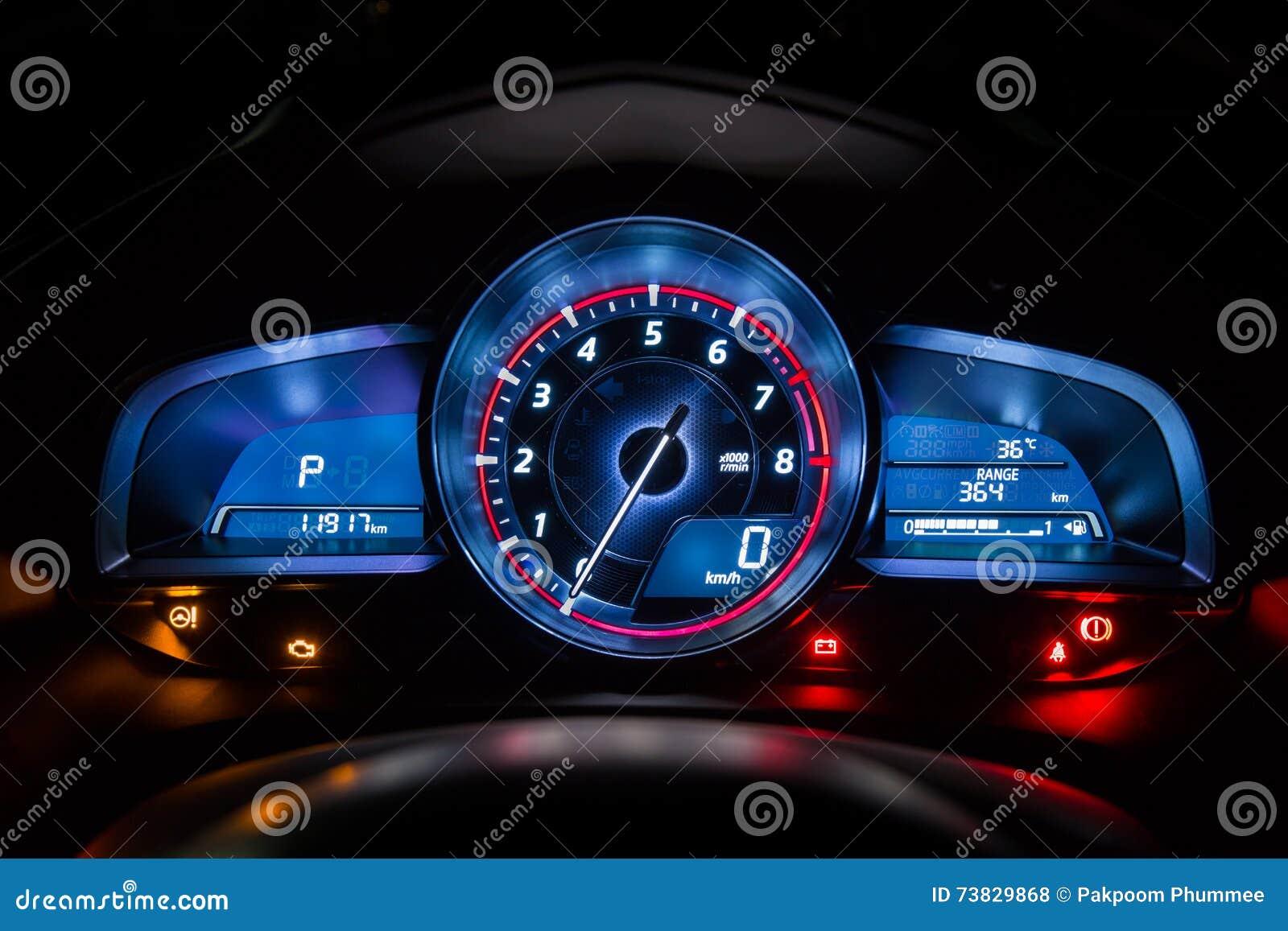 Modern car instrument dashboard panel or speedometer