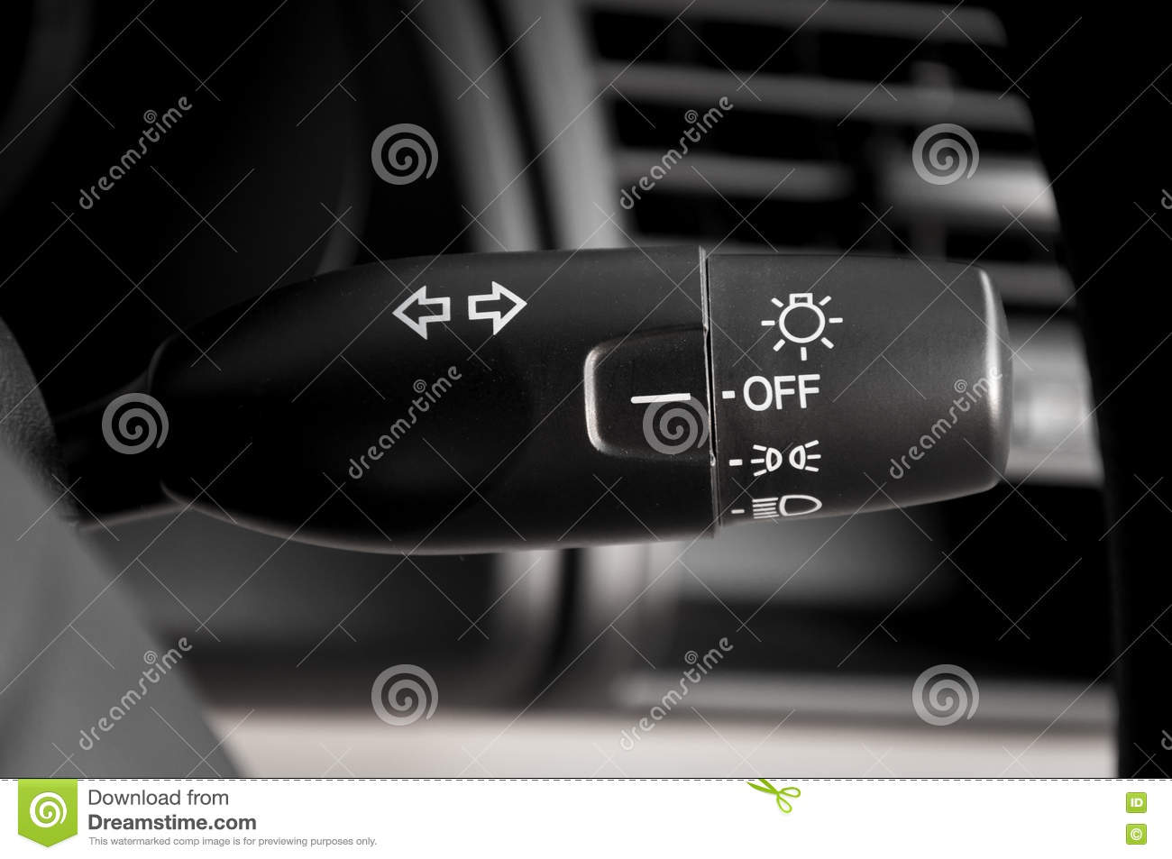 Modern Car Light Switch Control Paddle On Steering Wheel Stock Photo ...