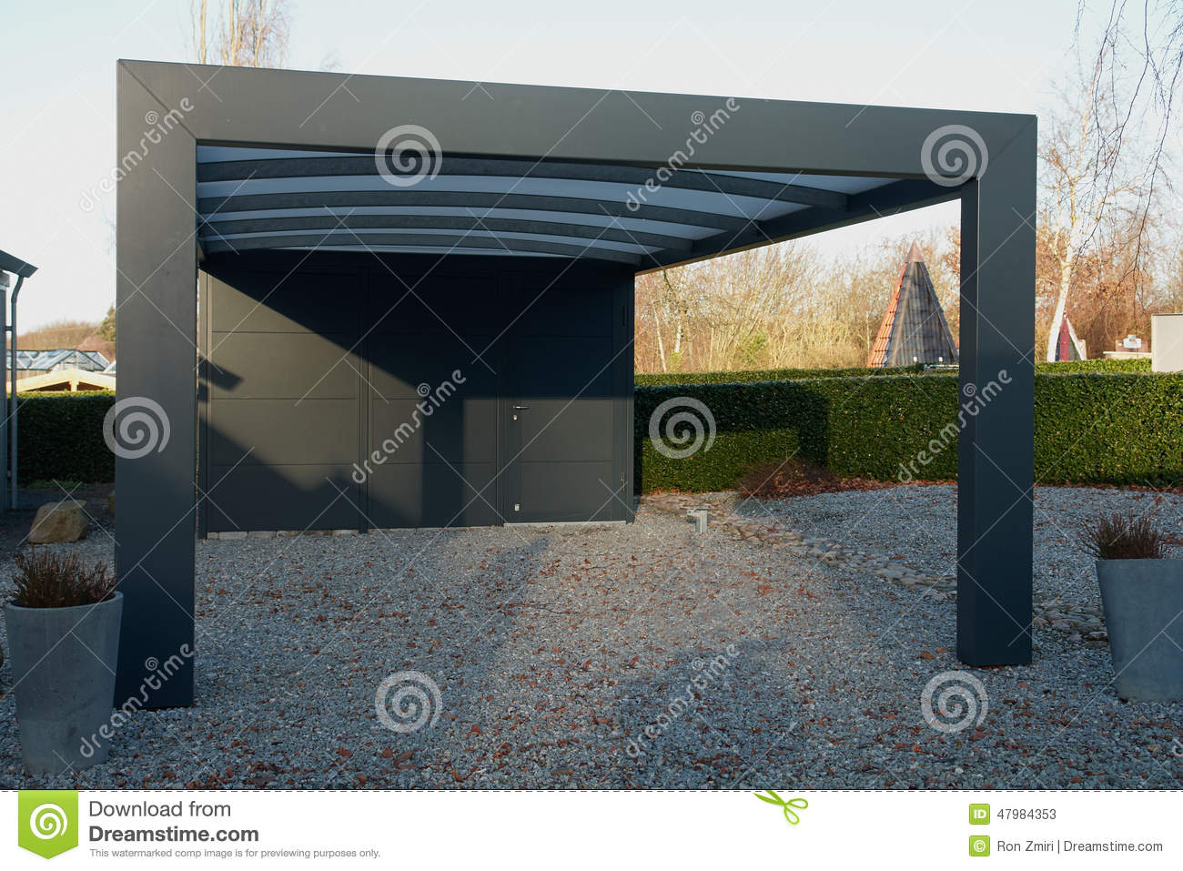 Modern Carport Car Garage Parking Stock Image Image