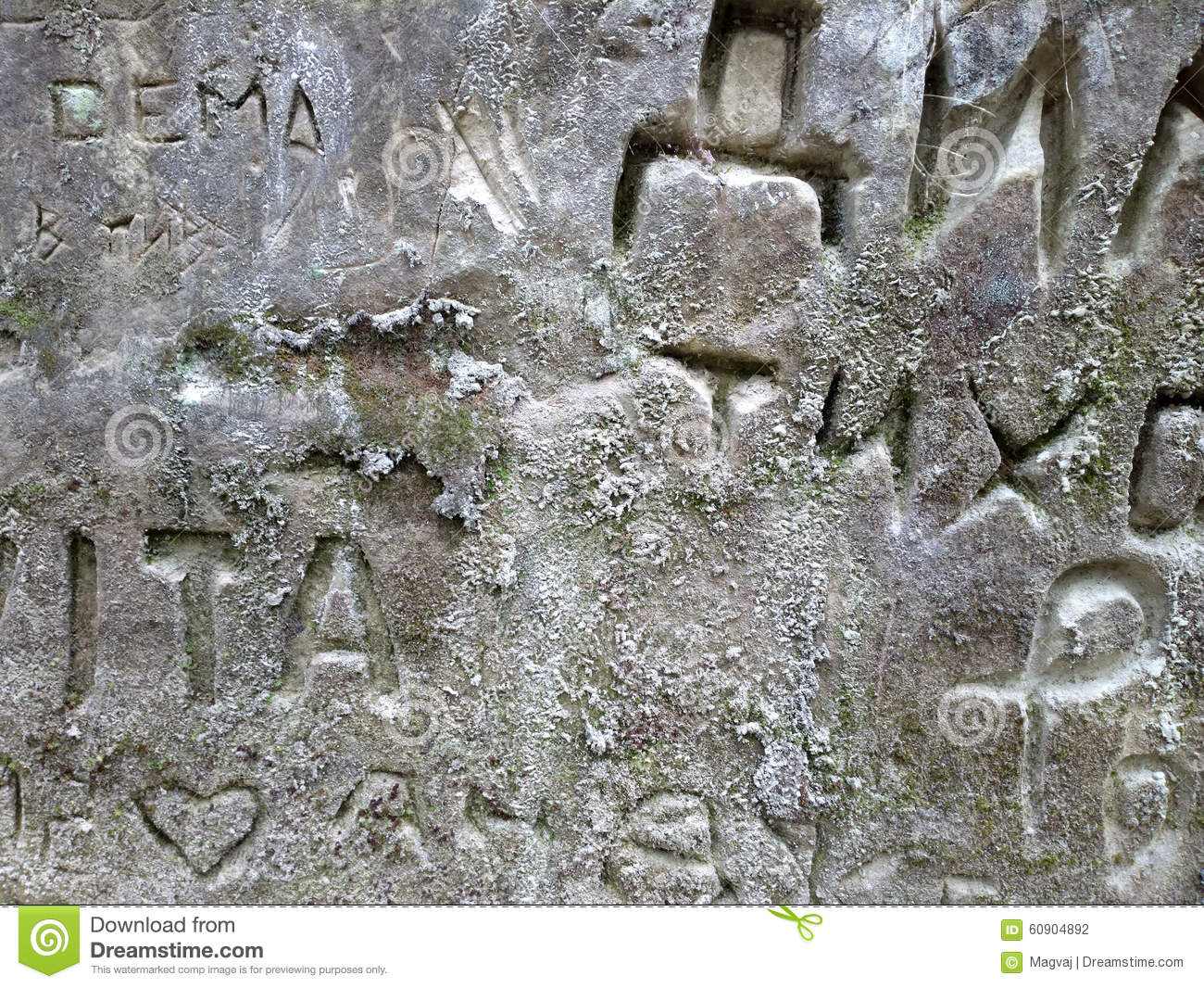 Modern Cave Paintings And Symbols Of Ordinary People Stock Photo