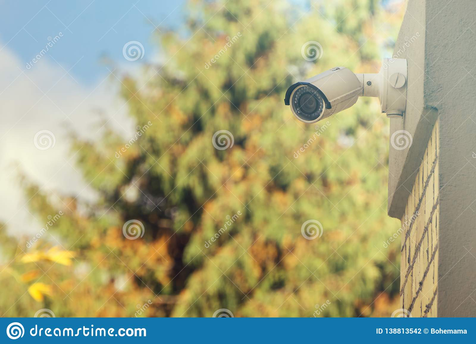 Modern CCTV camera on building wall, foliage background