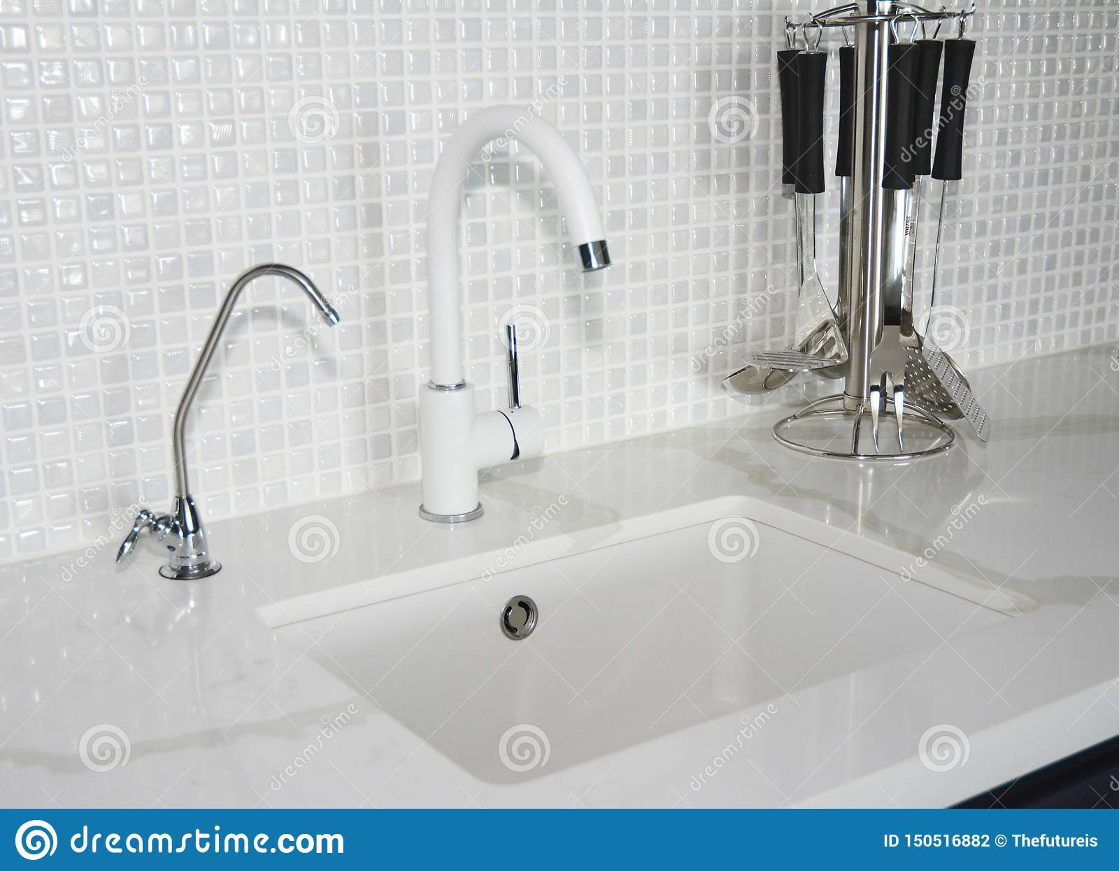 Modern Ceramic Kitchen Sink Modern Kitchen Chrome Faucet And Mosaic Tiles Wall Stock Photo Image Of Handle Mosaic 150516882