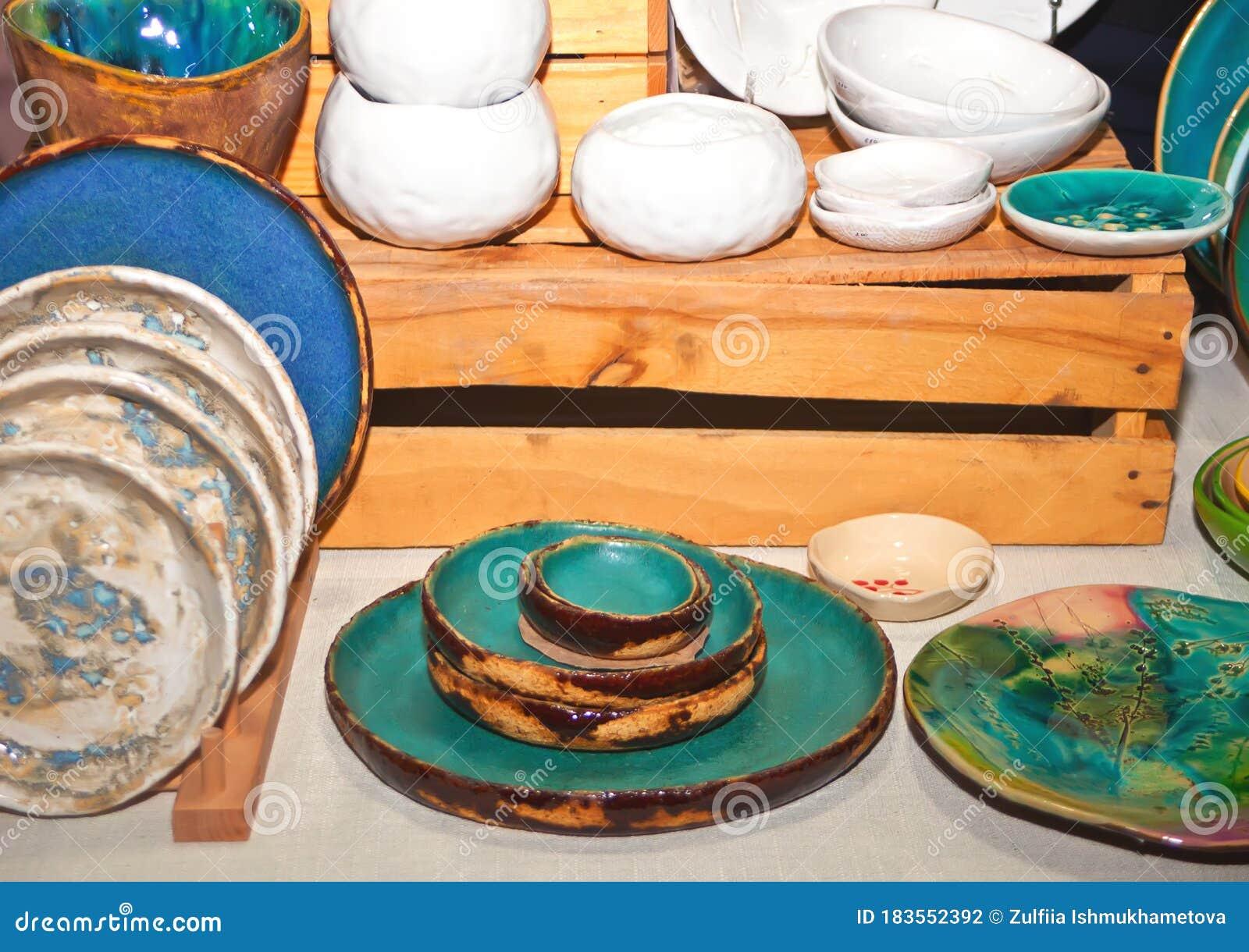 Modern Ceramic Plates In A Street Market Stock Photo Image Of Decor Assortment 183552392