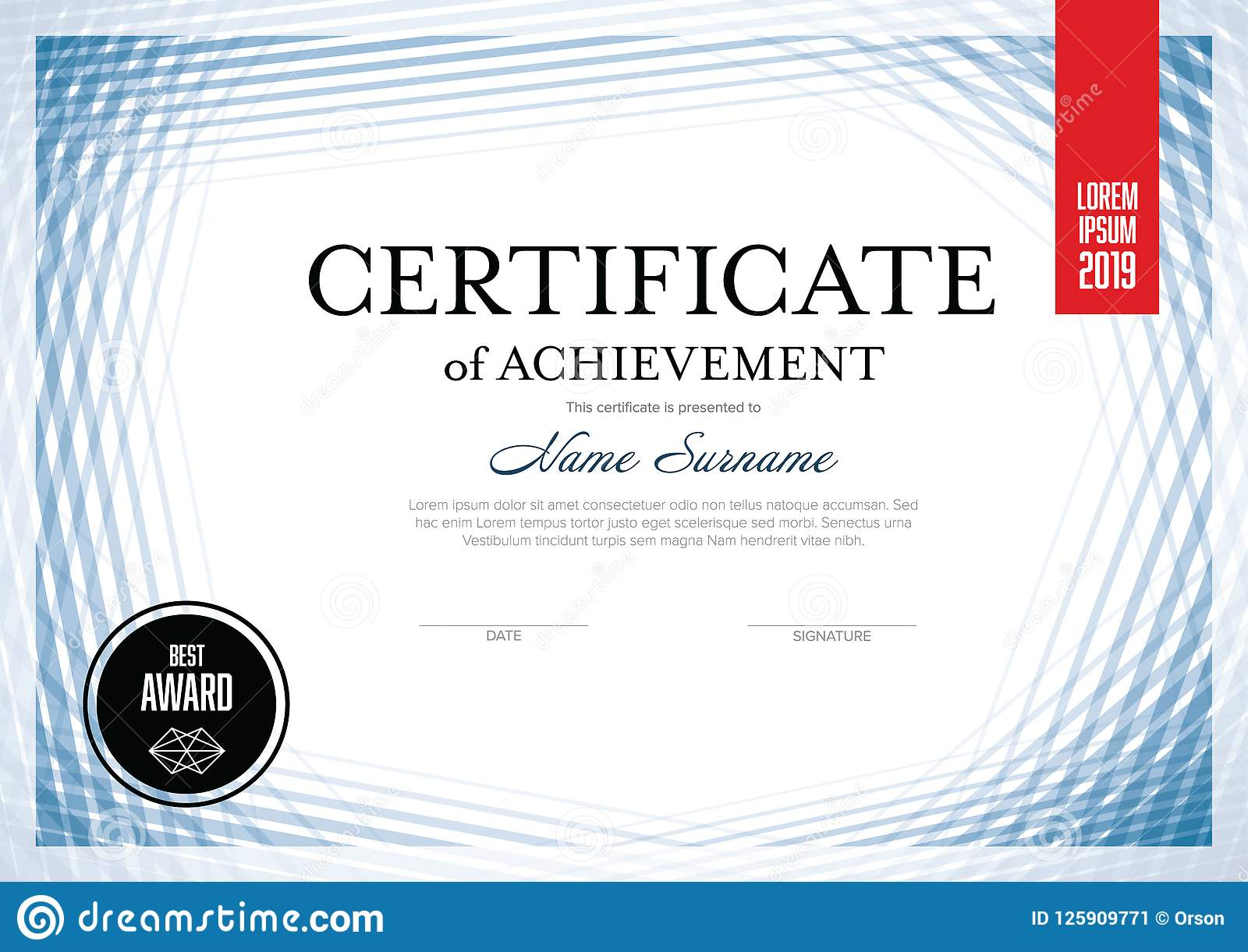 download modern lines certificate template stock vector illustration of certificate honor 125909771 - Modern Certificate Template