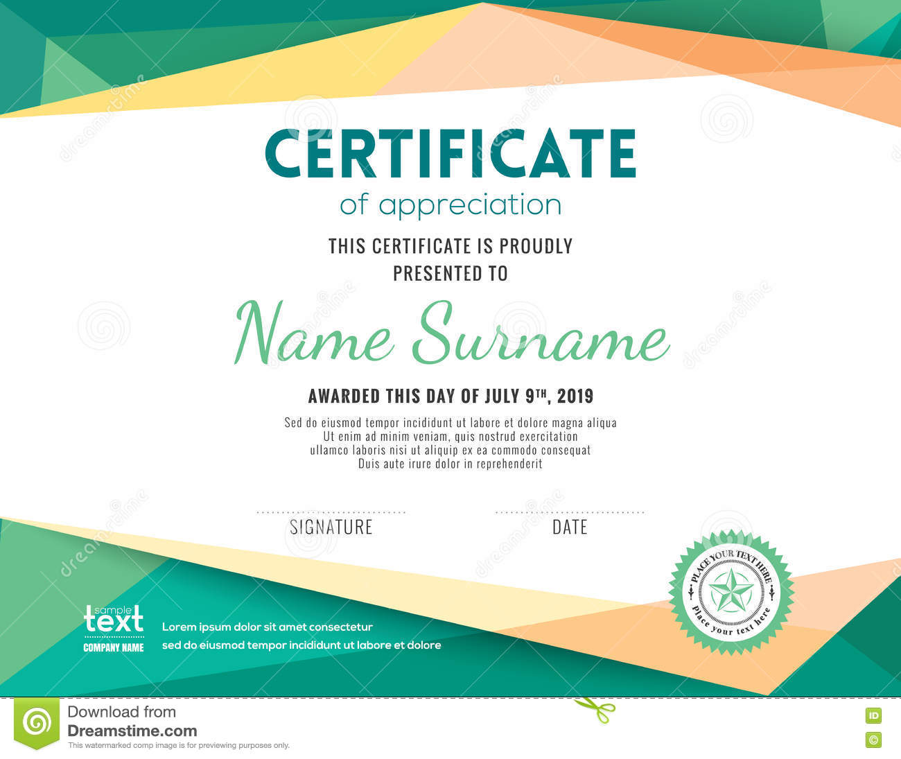 Modern certificate background design template stock vector for Certificate design template