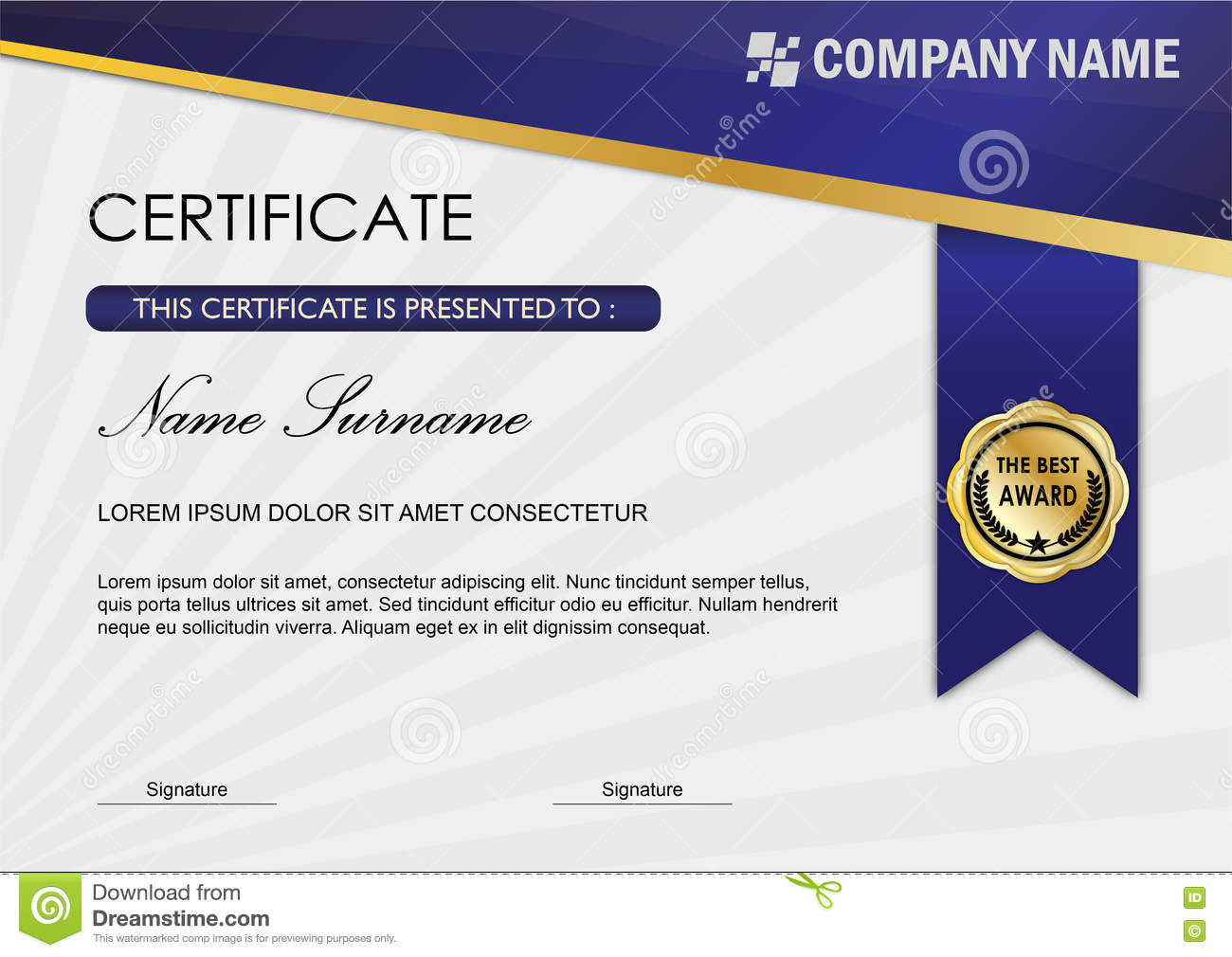 Modern certificate diploma award template blue dark for Certificate design template