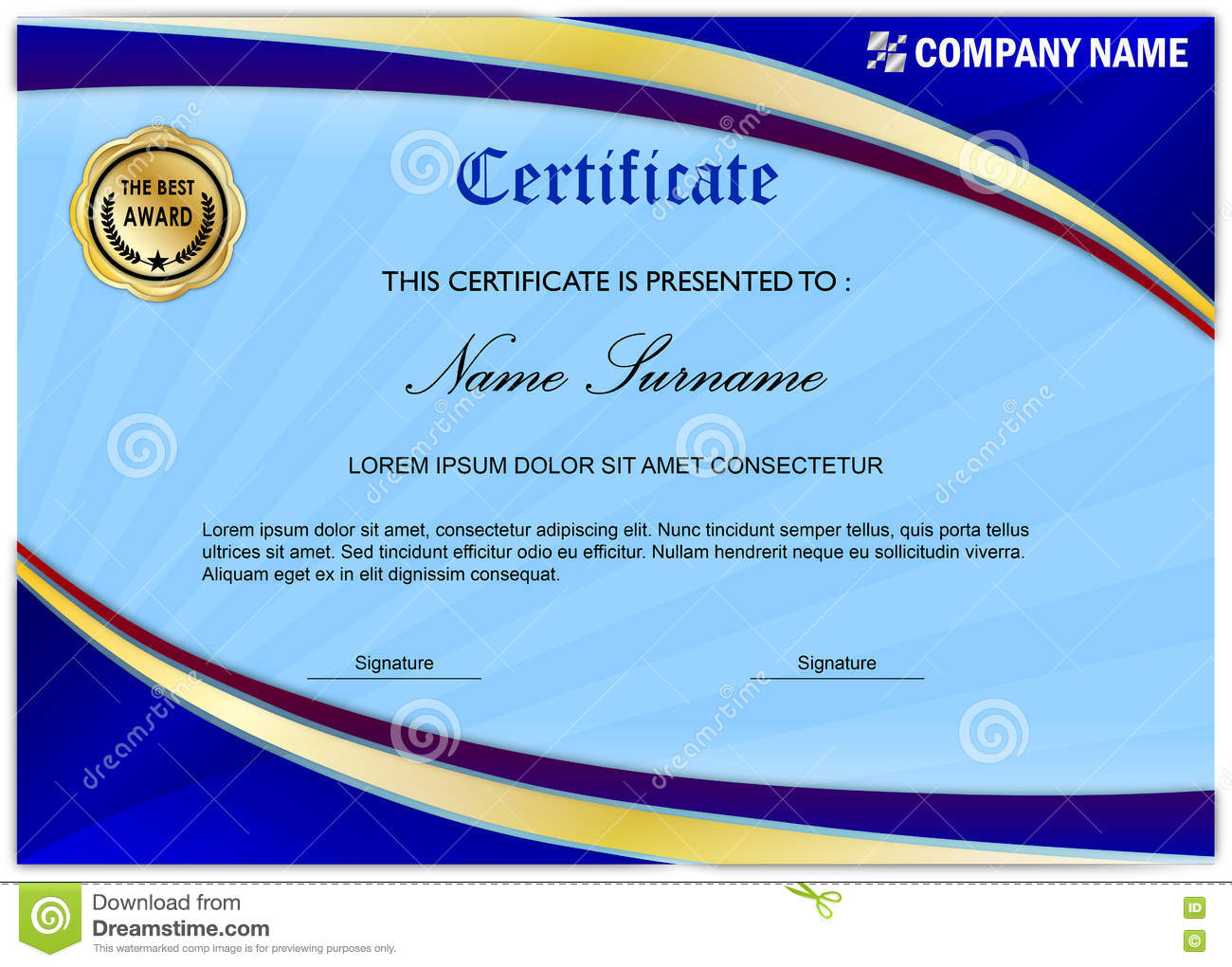 Modern certificate diploma award template blue gold stock modern certificate diploma award template blue gold royalty free illustration yelopaper Image collections