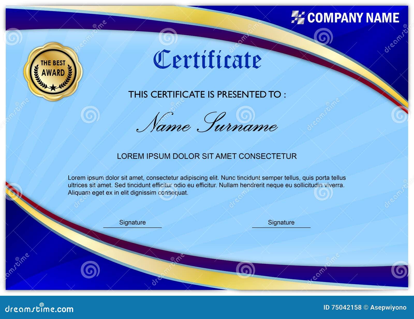 modern certificate    diploma award template  blue gold