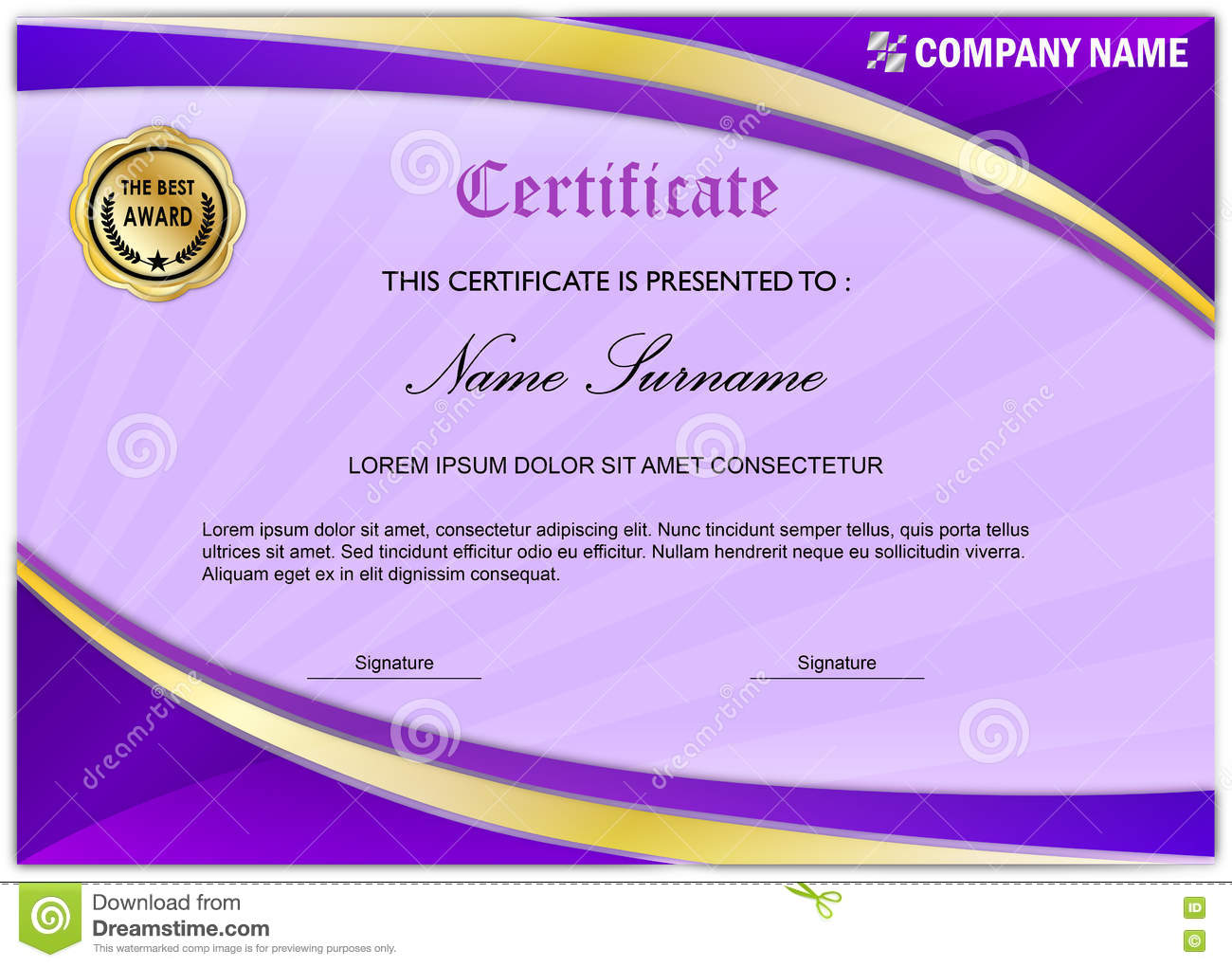 modern certificate diploma award template purple gold