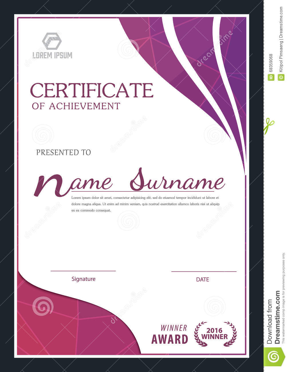 Modern Certificate Template Stock Vector Image 68359068