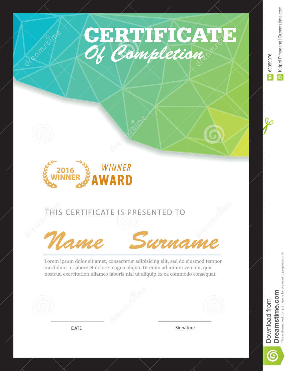 Modern Certificate Template Stock Vector Illustration Of