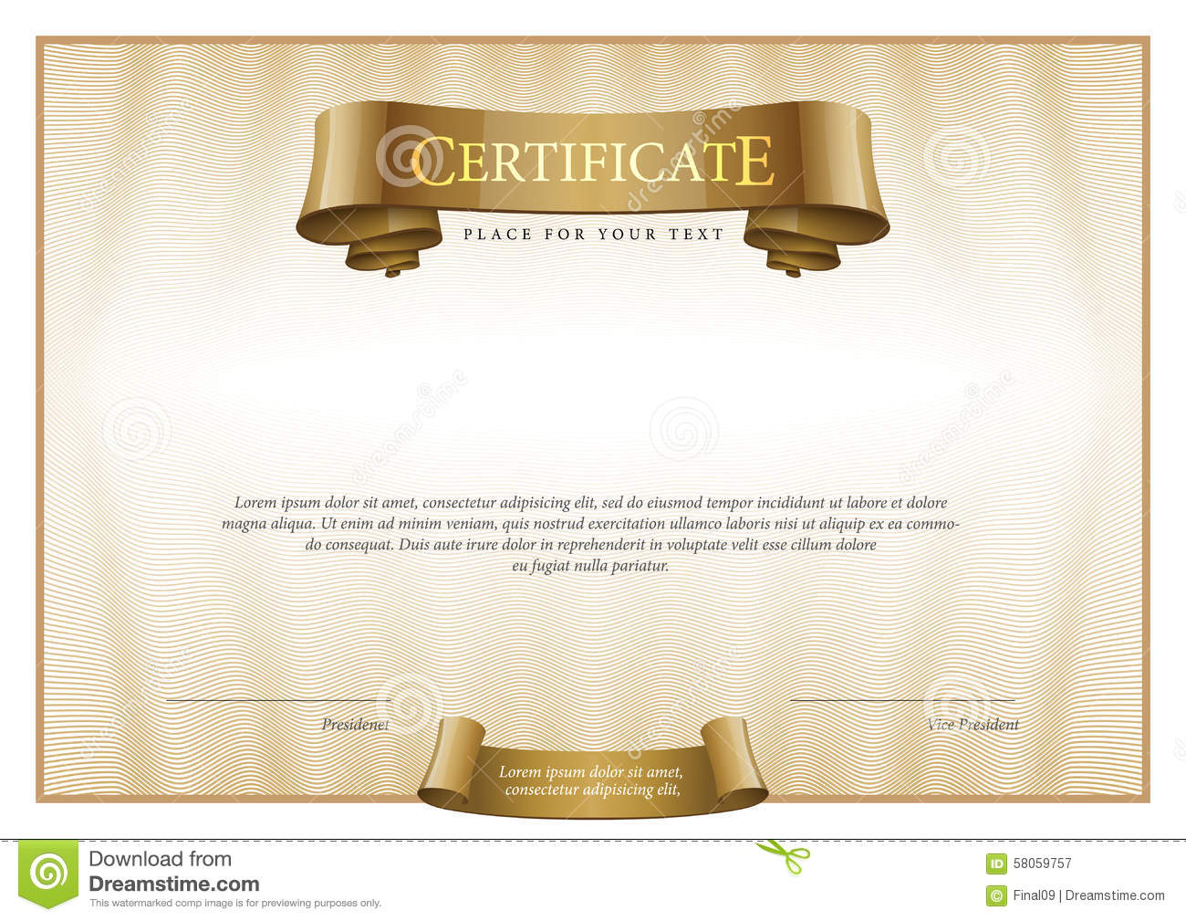 Modern Certificate Template Diplomas Currency Stock