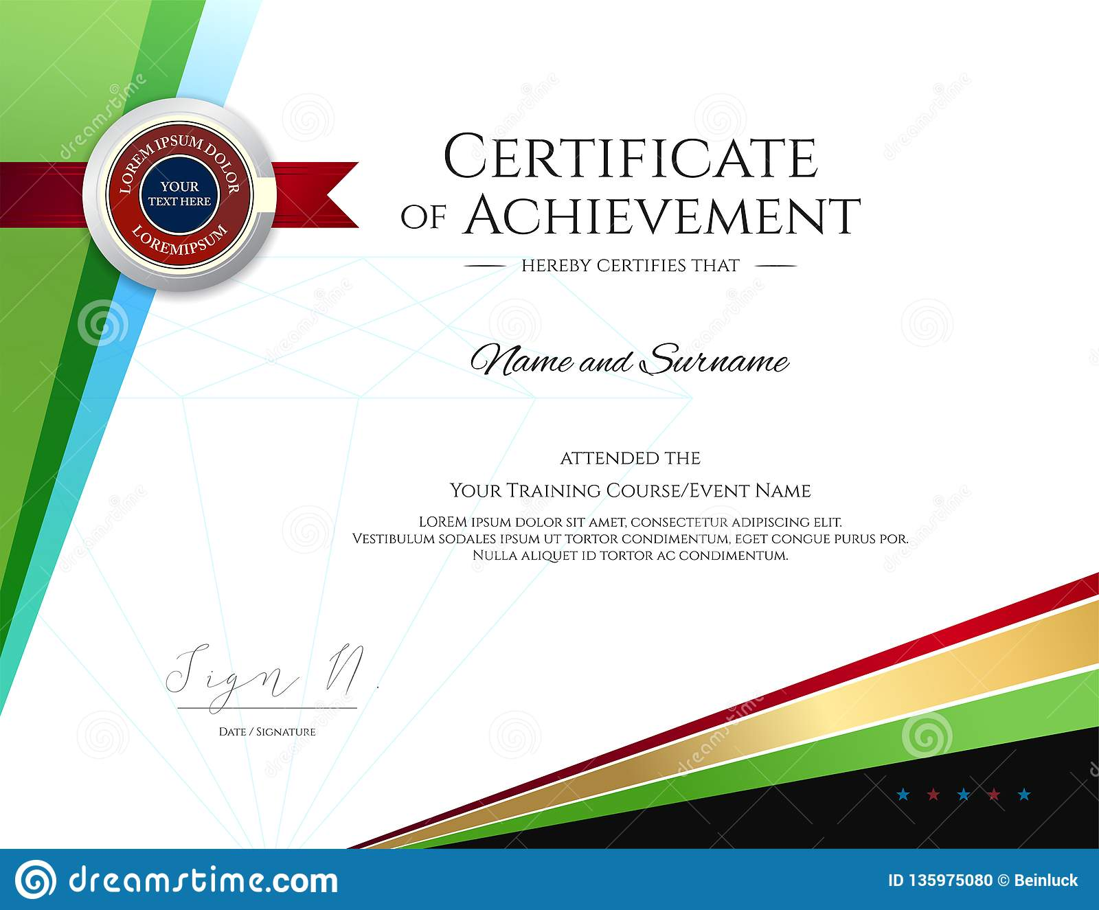 Modern Certificate Template With Elegant Border Frame Diploma Design For Graduation Or Completion Stock Vector Illustration Of Achievement Gift 135975080