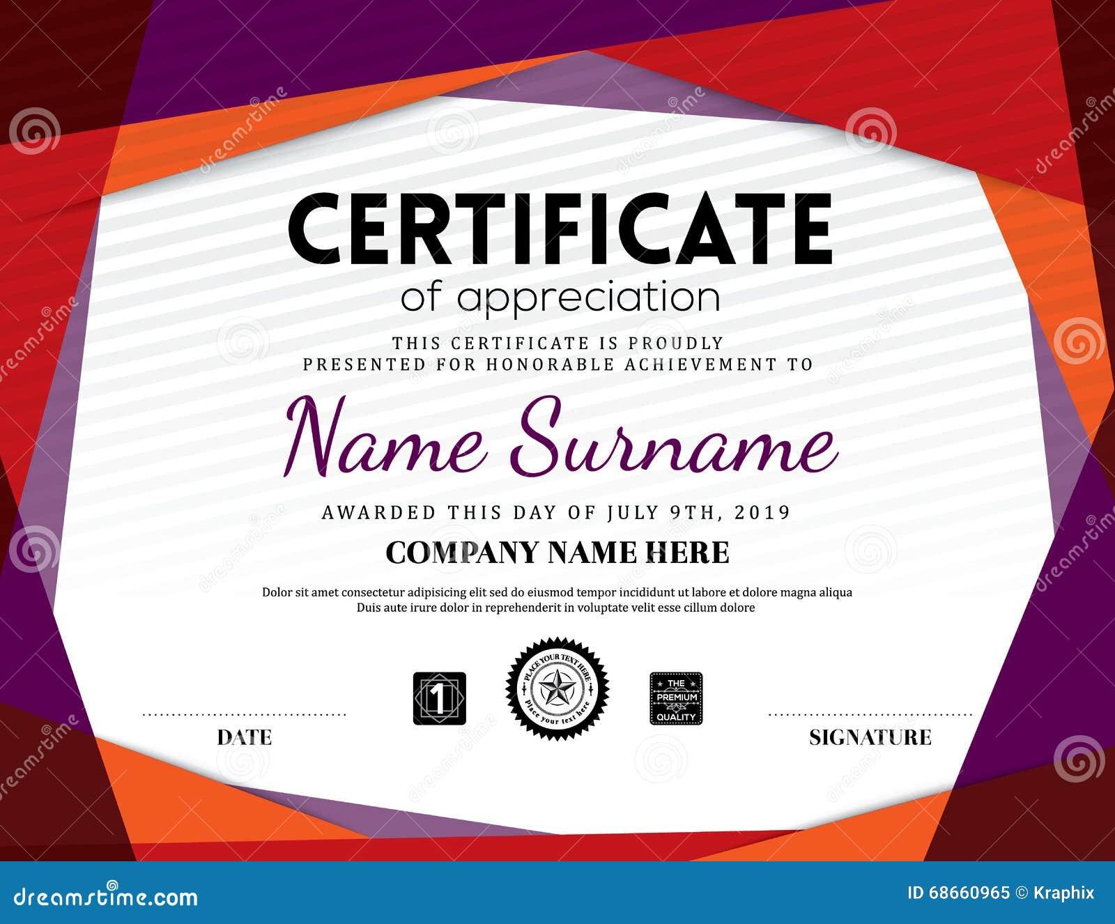 appreciation award certificate template