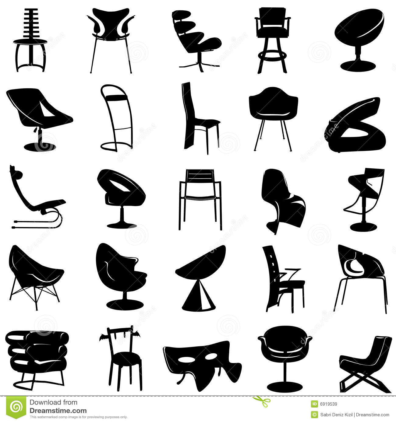 Modern chair vector stock vector. Illustration of colors - 6919539