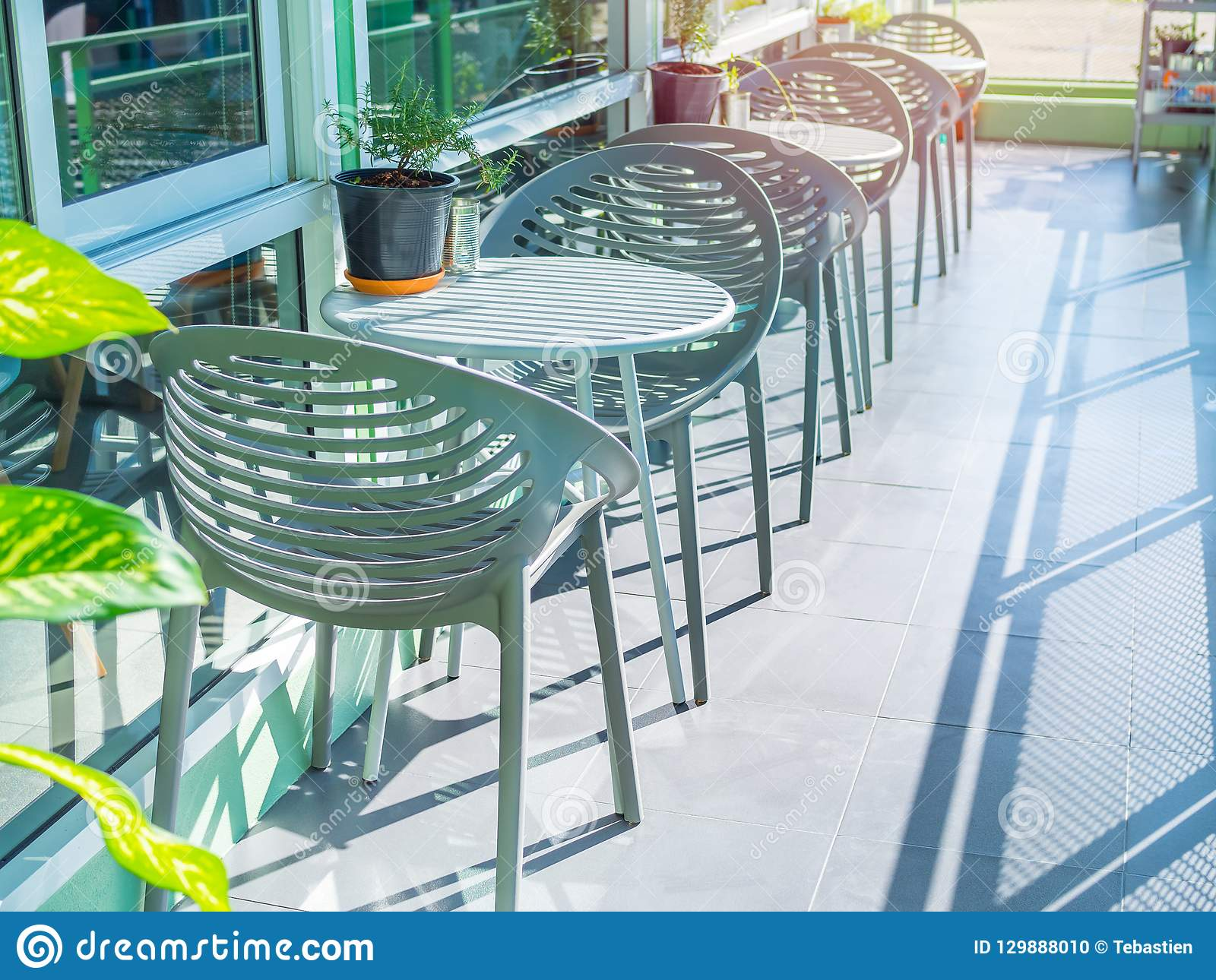 Brilliant Modern Chairs In Cafe Outdoor Stock Photo Image Of Clean Gmtry Best Dining Table And Chair Ideas Images Gmtryco