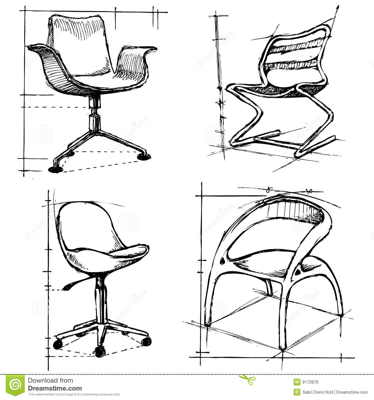 Modern Furniture Drawings modern chairs illustration royalty free stock image - image: 9172876