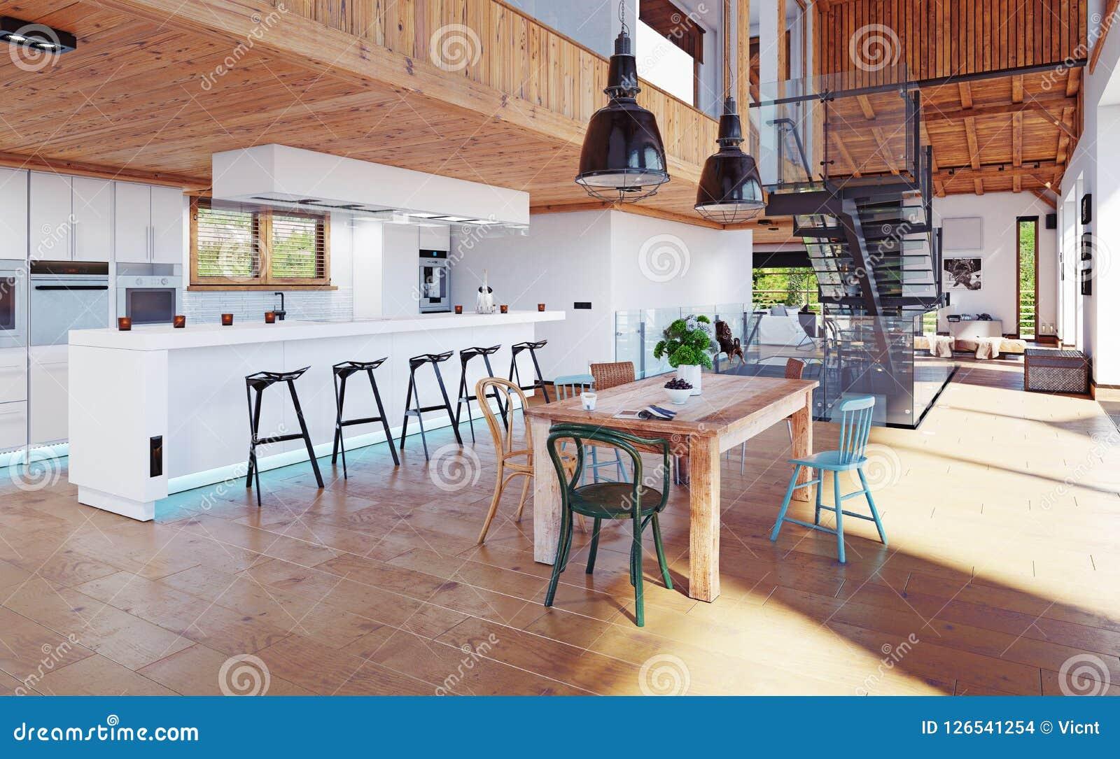 Modern chalet interior. stock illustration. illustration of design
