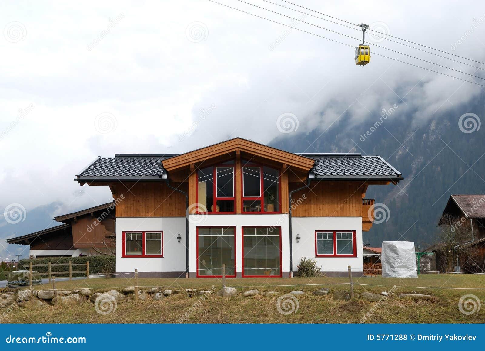modern chalet under cable road stock photo image 5771288. Black Bedroom Furniture Sets. Home Design Ideas