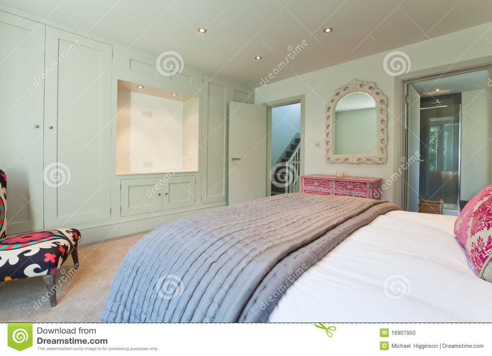 Modern Chic Bedroom Stock Photo Image