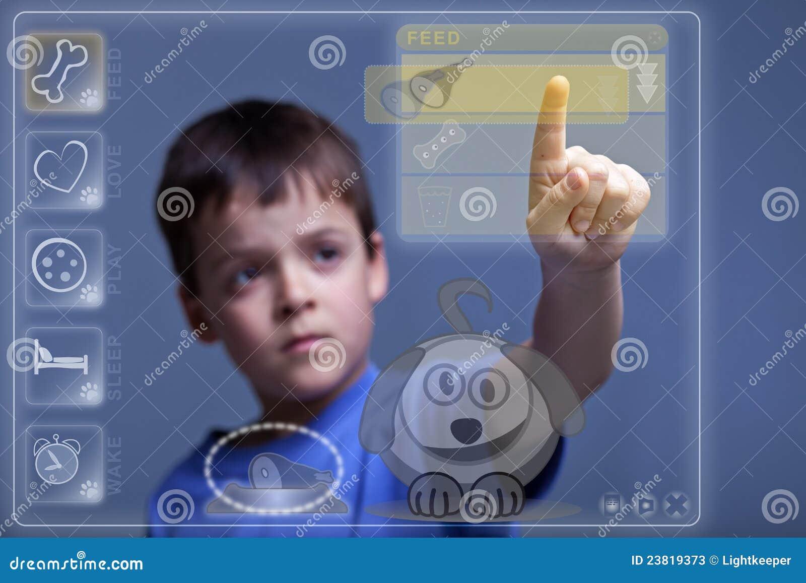 Modern Child Feeding Virtual Pet Displayed Touchscreen Like Device