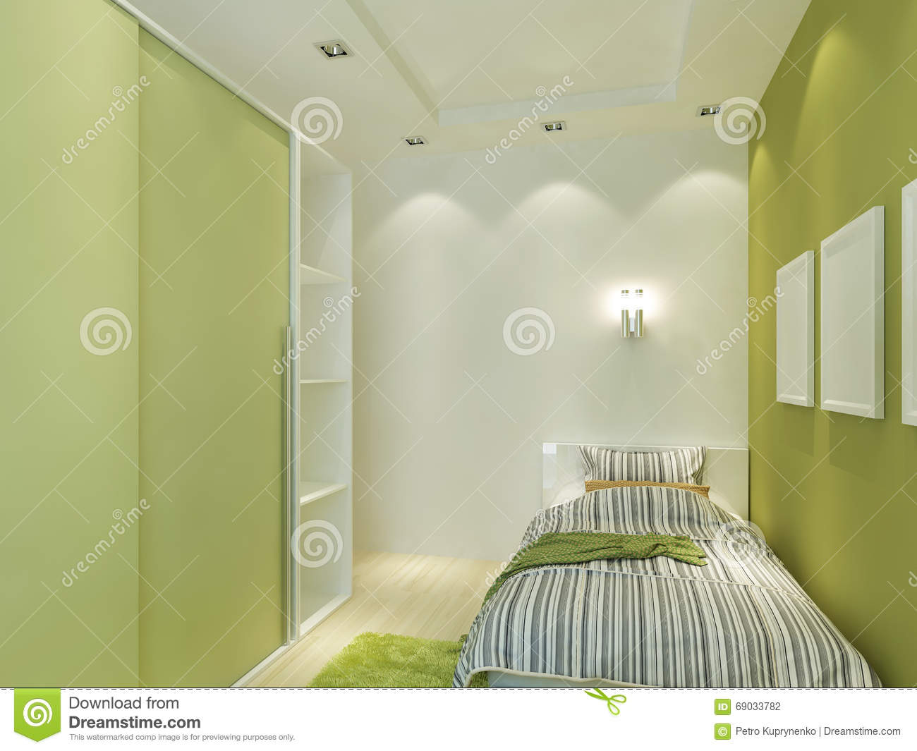 Modern Children s Room With False Ceiling And Spotlights Stock Illustration Image