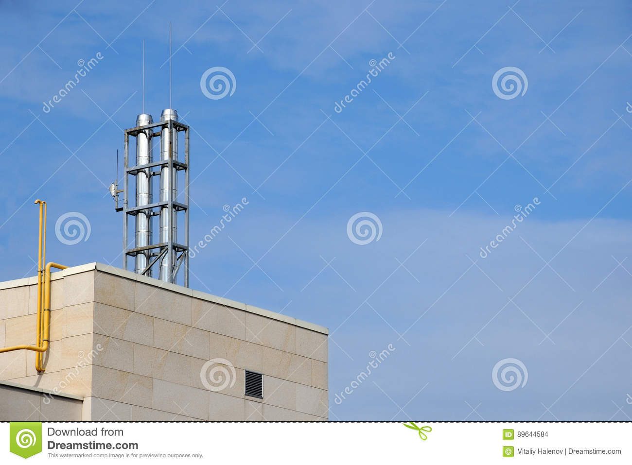 Modern Chimney On The Roof Of Hi Tech Home Stock Photo Image Of Energy Architecture 89644584