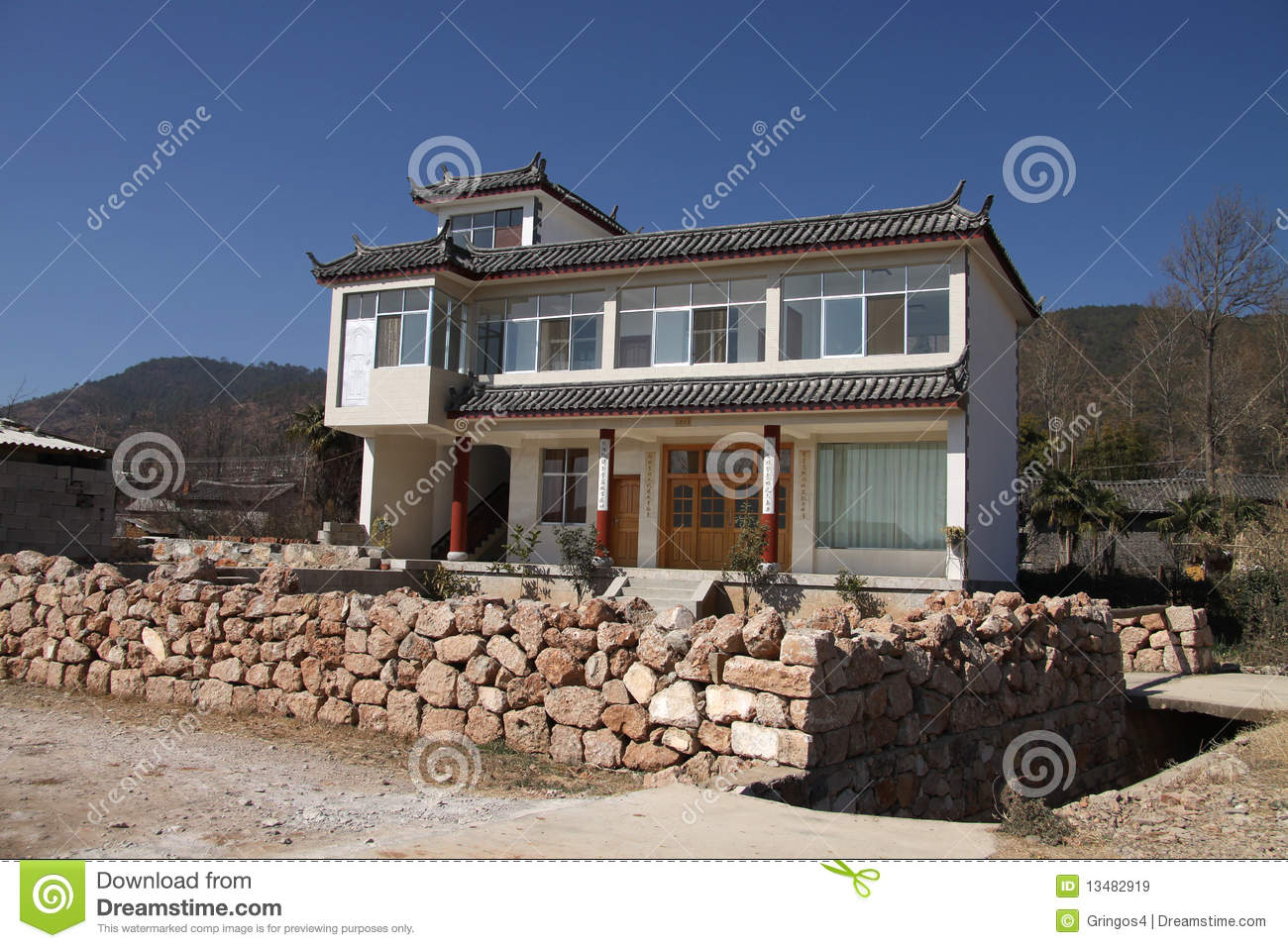 Modern chinese house exterior stock image image of for Modern chinese house design