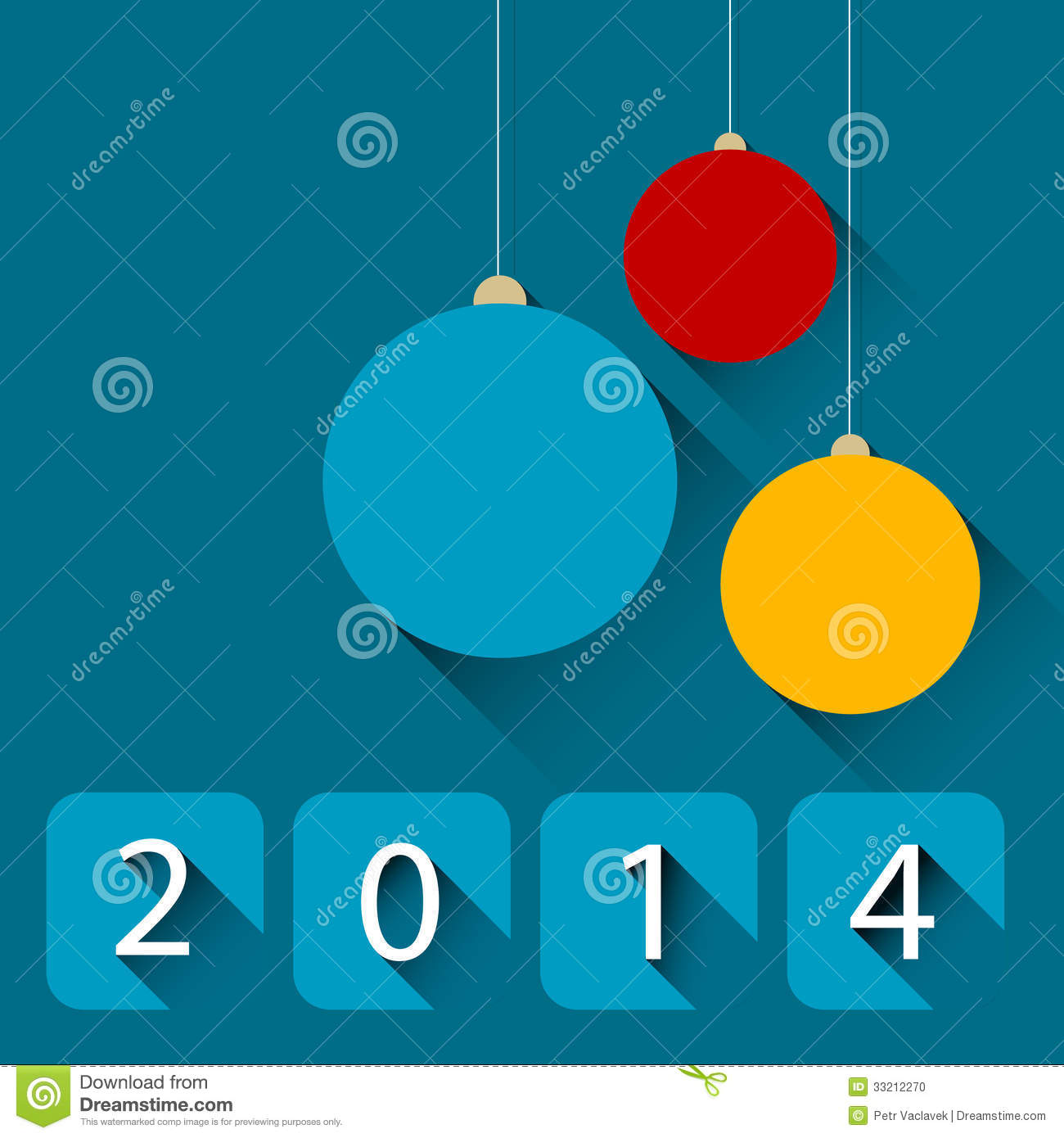 Modern christmas card with flat design stock photo image 33212270 for Simple flat decoration