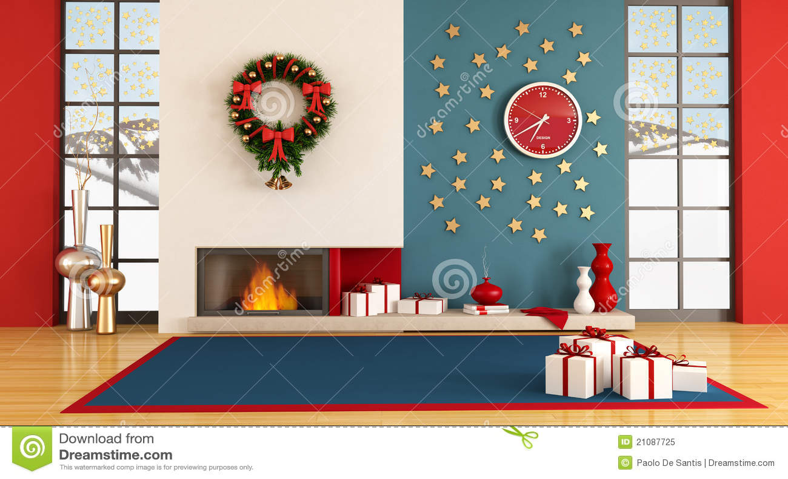 Decorate My Room Online Free: Modern Christmas Interior Stock Illustration. Illustration