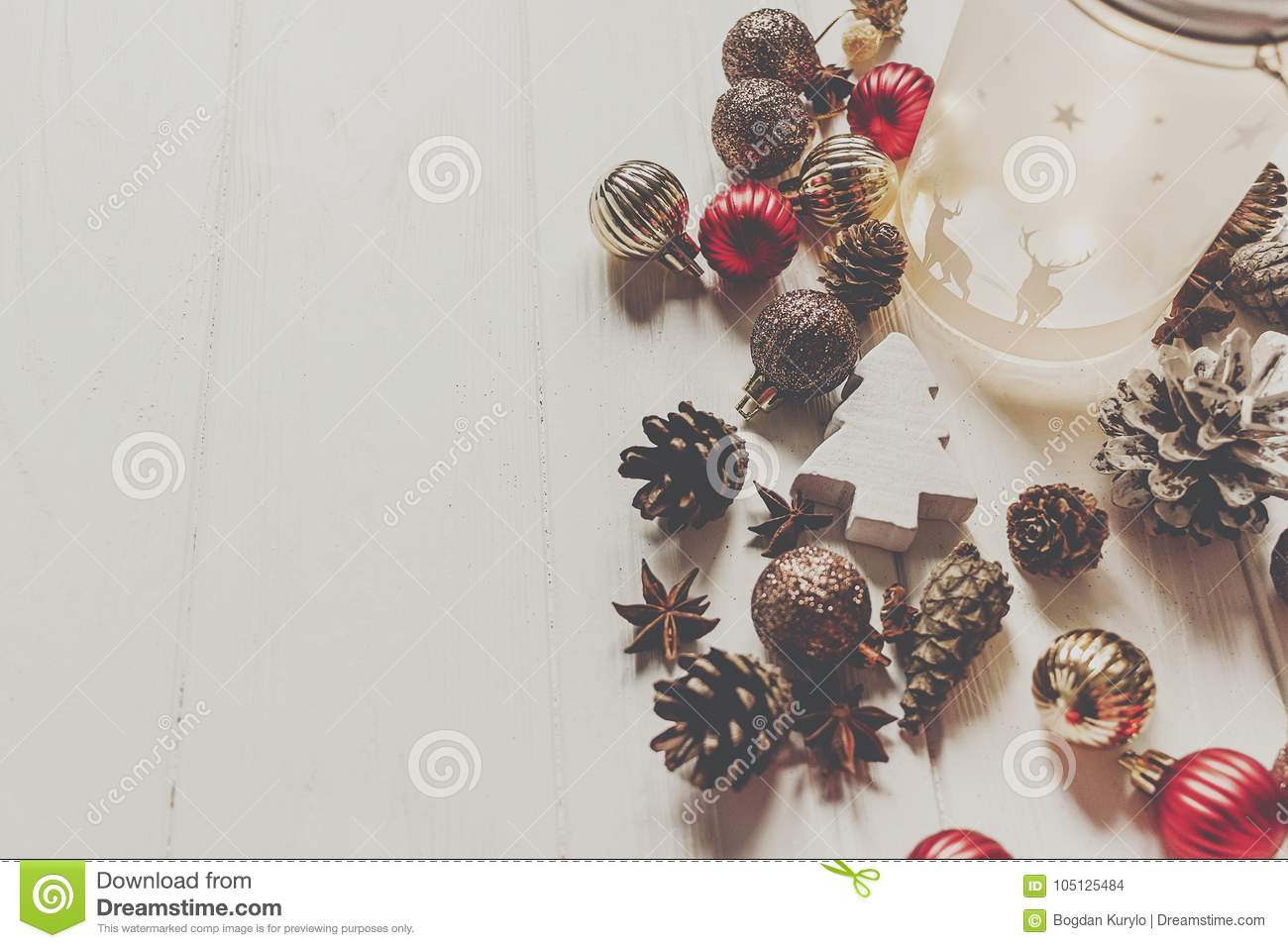 download modern christmas ornaments and cones anise on white wooden backg stock photo image of - Modern Christmas Ornaments