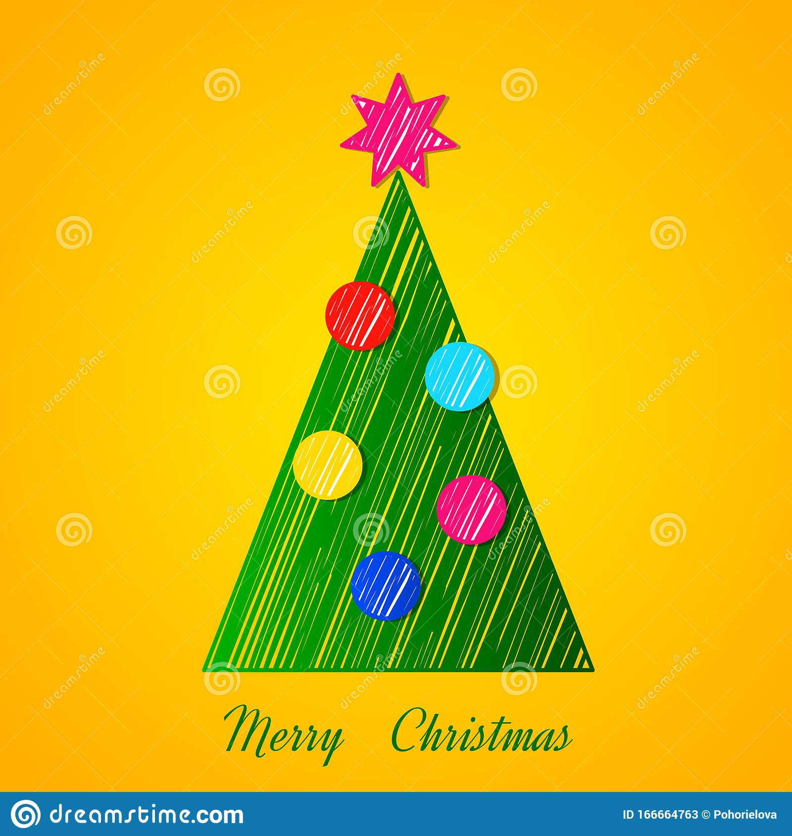 Modern Christmas Tree In The Style Of A Hand Made Outline With New Year S Balls And A Garland Stock Illustration Illustration Of Bright Graphic 166664763