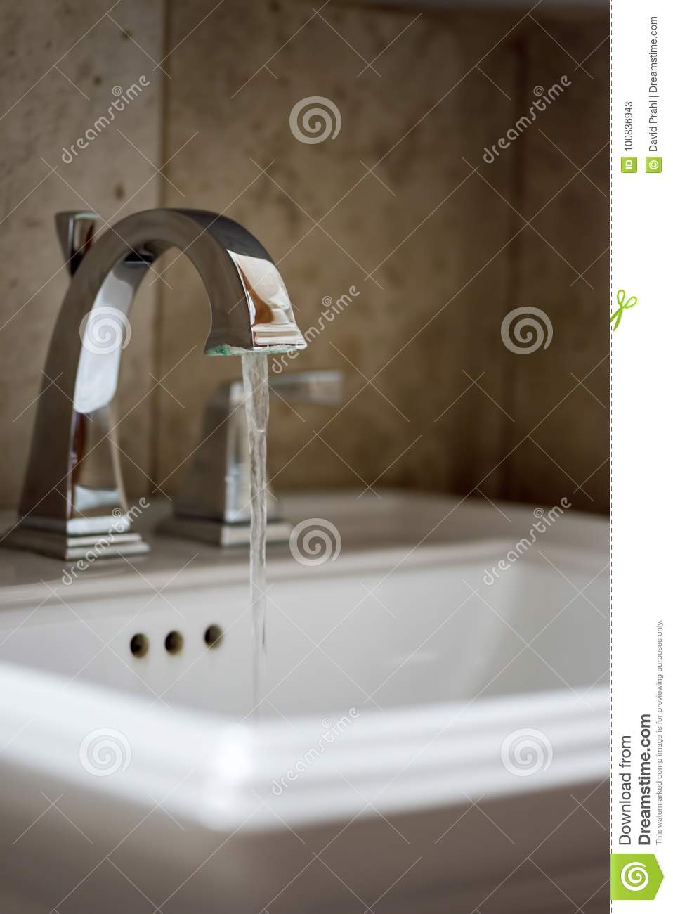 Water Running At Bathroom Faucet Stock Image - Image of resources ...