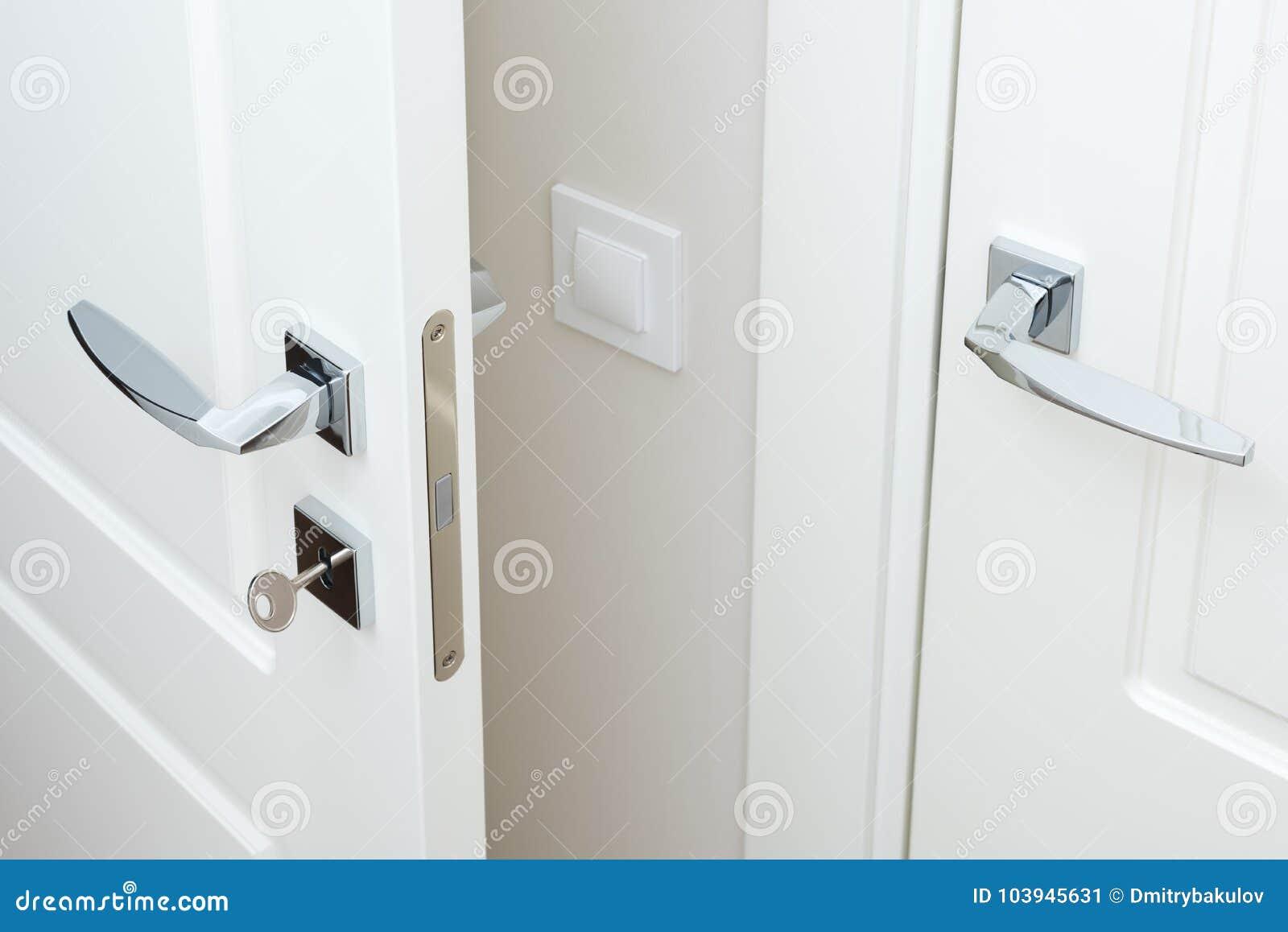 Modern Chrome Door Handle And Lock With Key White Interior Door