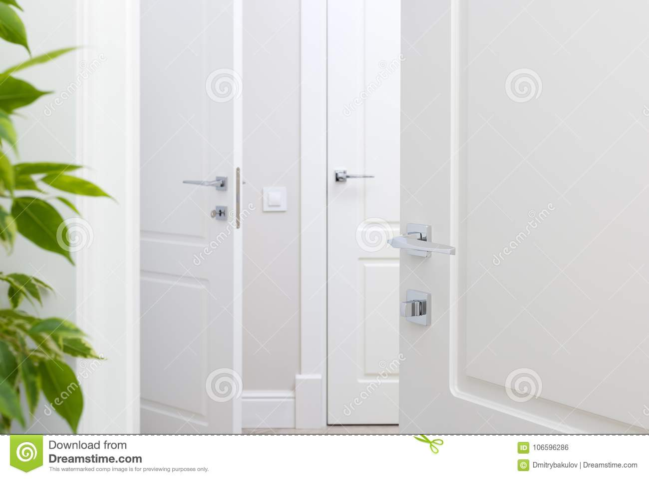 Modern Chrome Door Handle On White Door Beautiful Interior Closeup