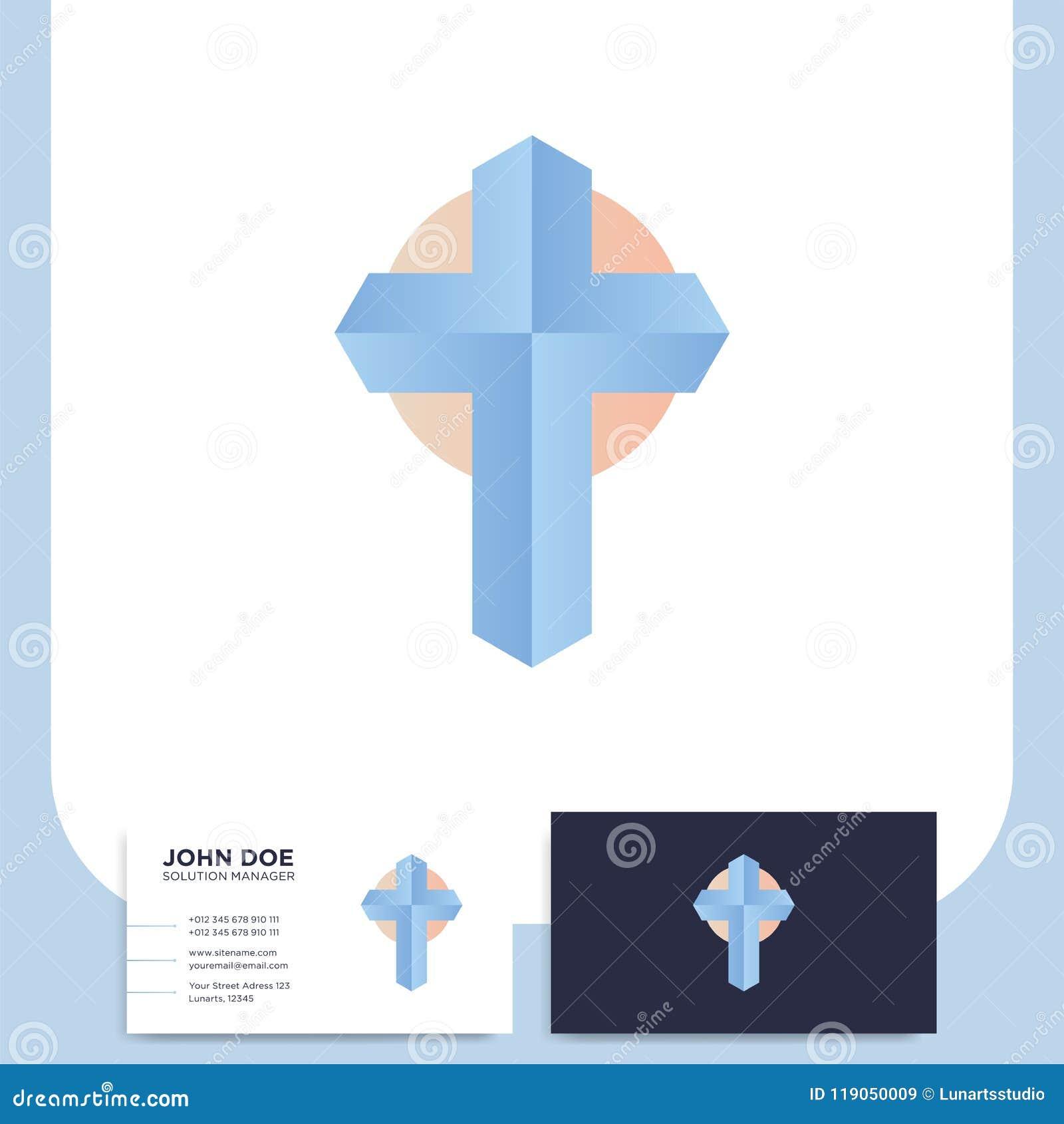 Modern Church 3d Cross Logo Christian Symbol For Baptist Or Lut