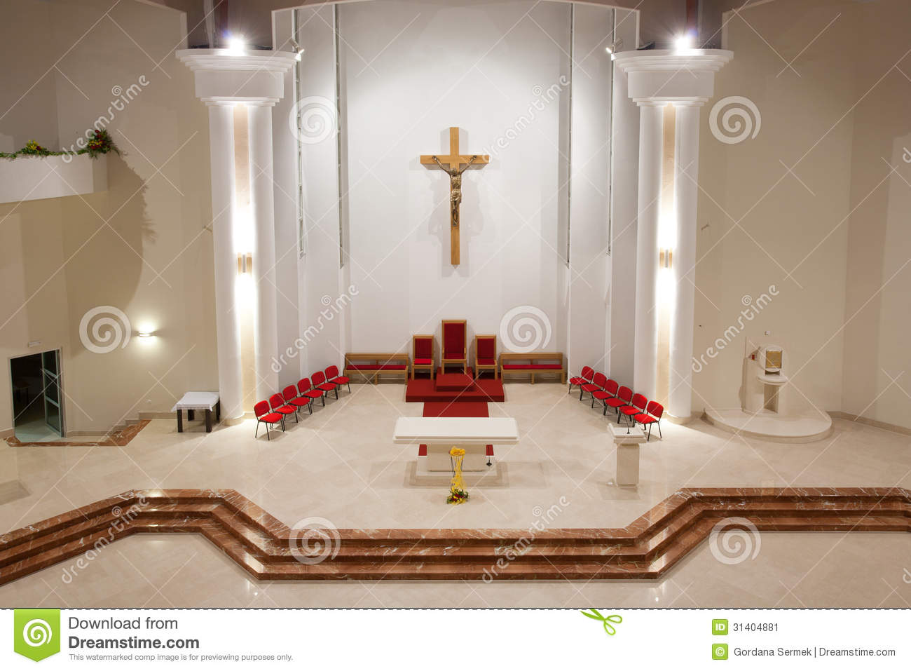 Modern Church Interior Stock Image